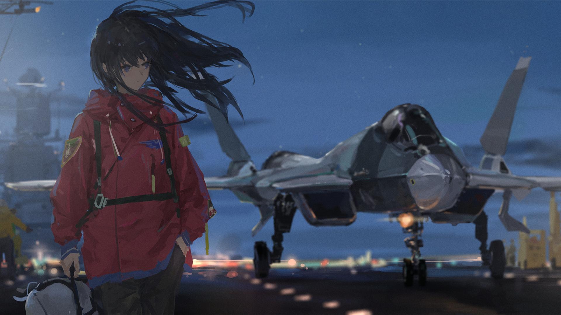 动漫卡通,卡通人物,战斗机,飞机,飞行员