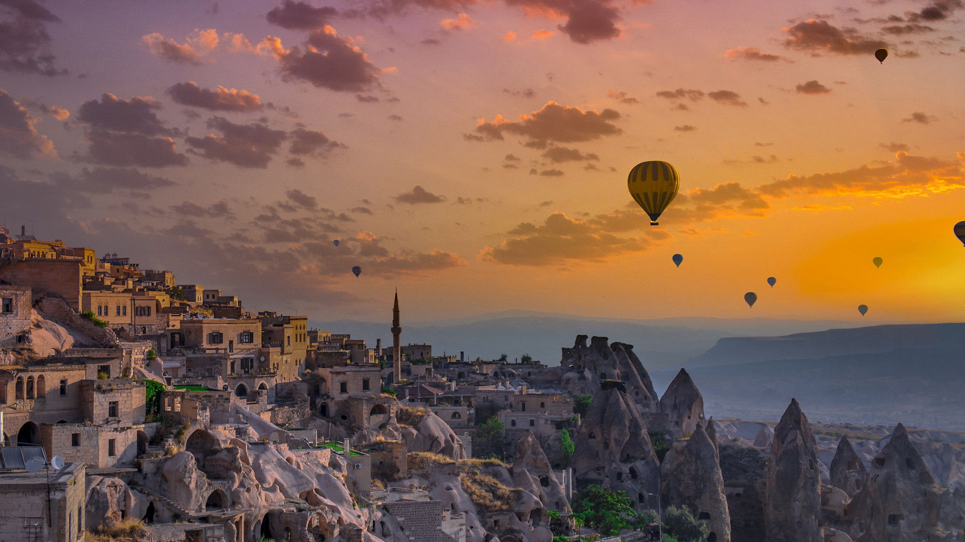 风景大片,奇幻梦境,热气球,夕阳,晚霞,城堡,古城