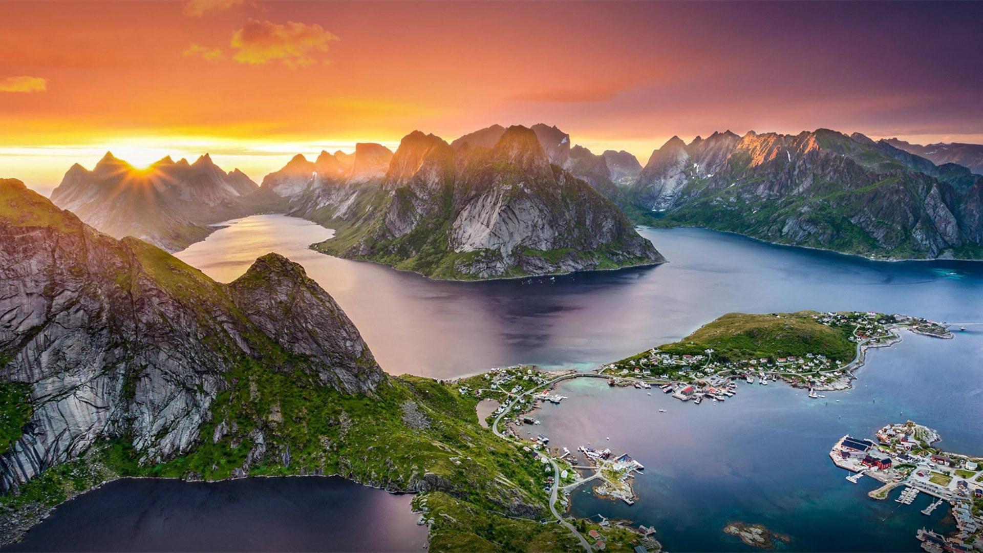 风景大片,自然风光,小镇,湖,岛,山脉,日出