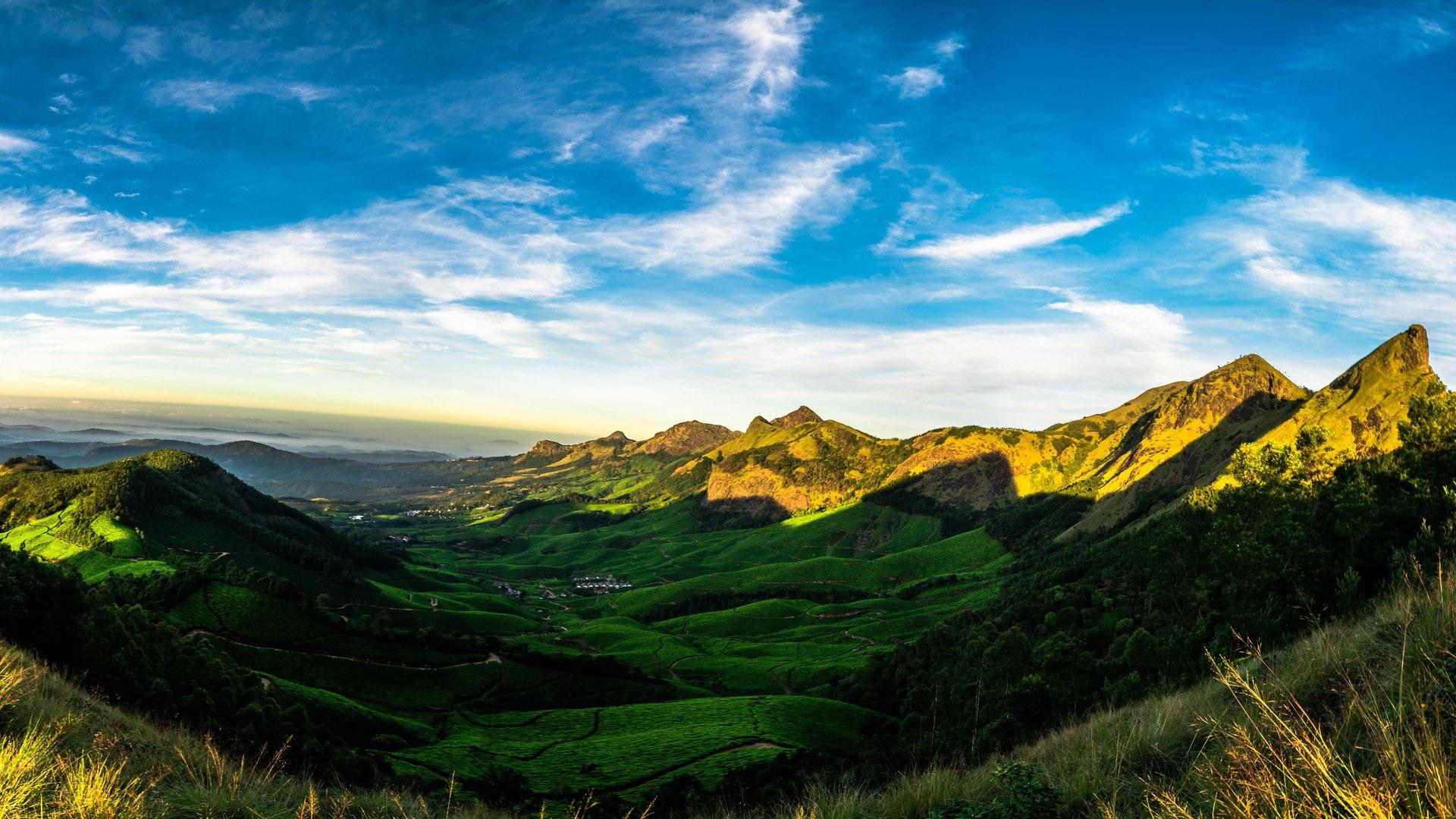 风景大片,蓝天白云,山谷,山脉,山峰