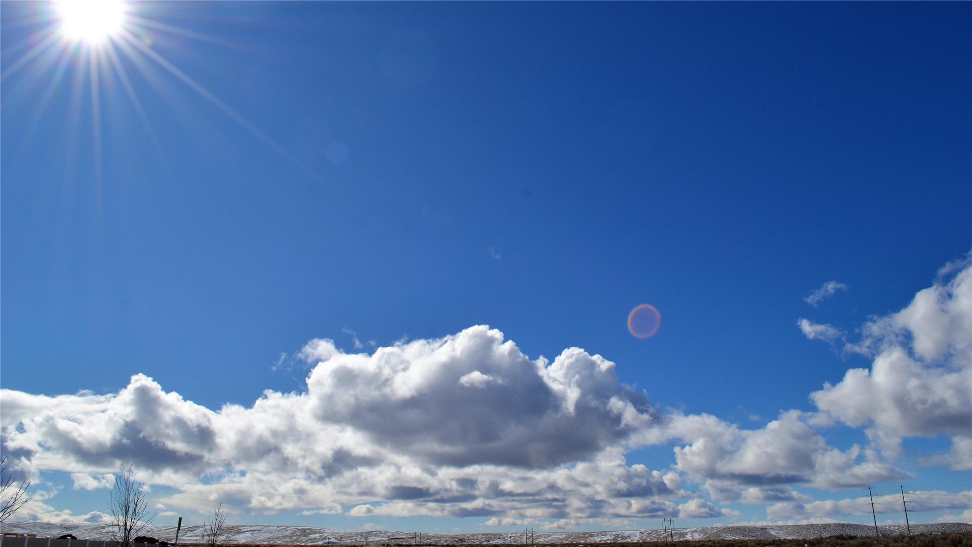 风景大片,蓝天白云,太阳,阳光,高原,云朵