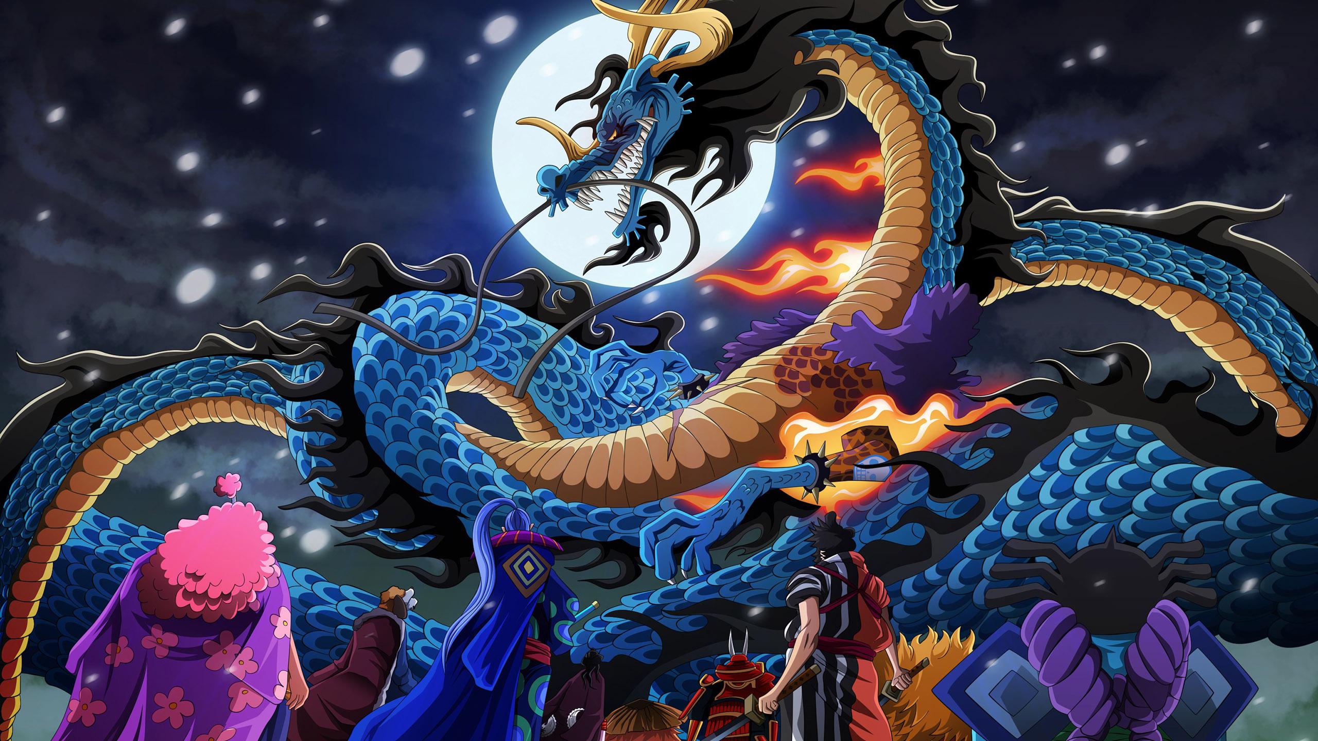 动漫卡通,海贼王,凯多,龙,月亮,和之国