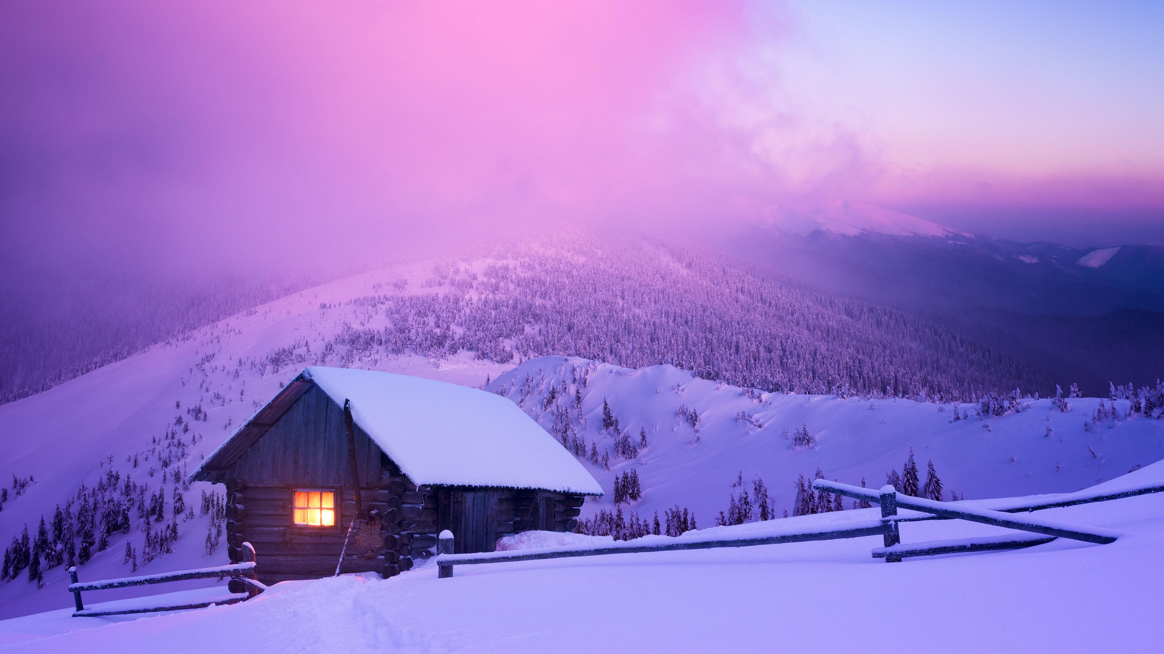 风景大片,冰天雪地,雪山,小木屋,晚霞
