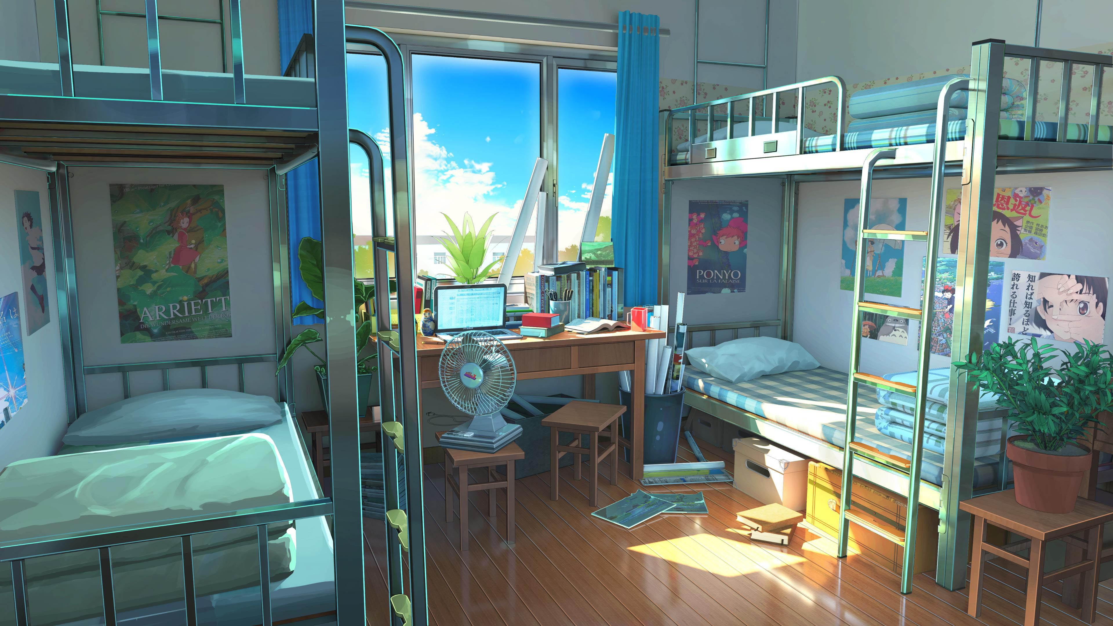动漫卡通,学校,寝室,电脑,电扇,高低床,阳光