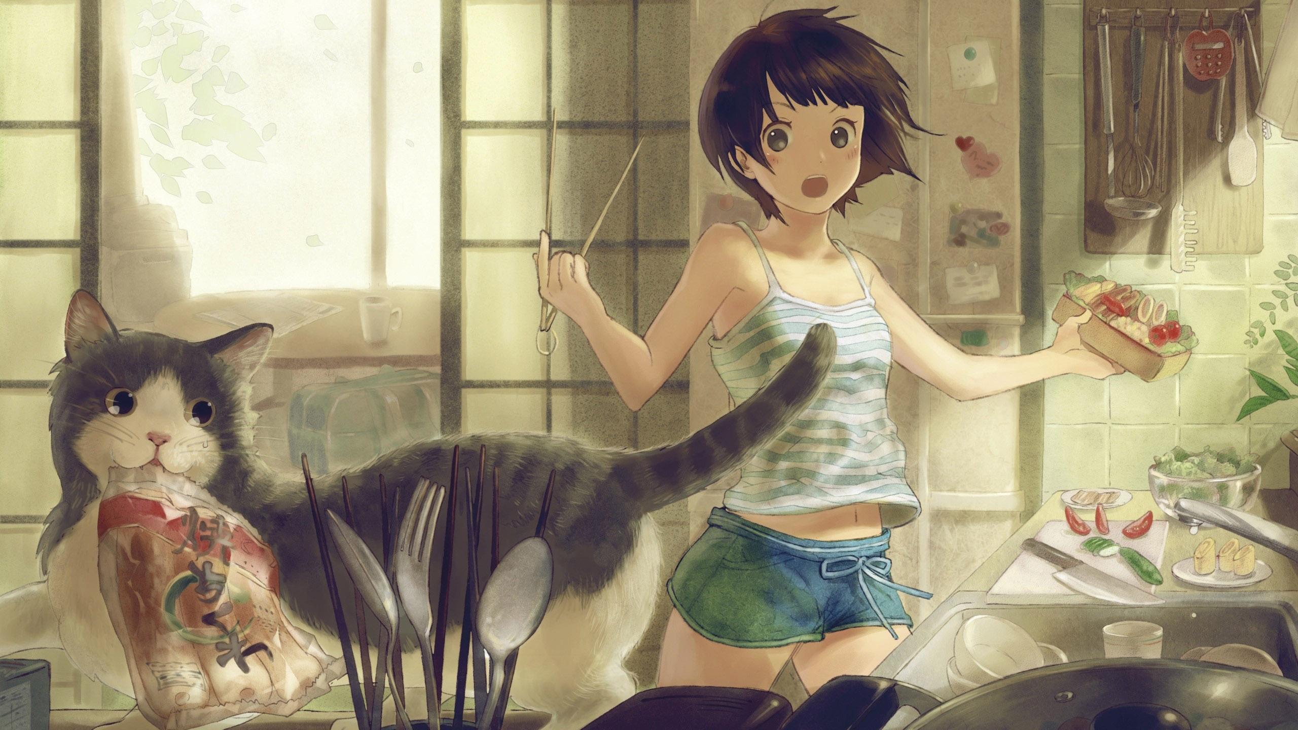 动漫卡通,妹妹,短发,猫咪,方便面,厨房
