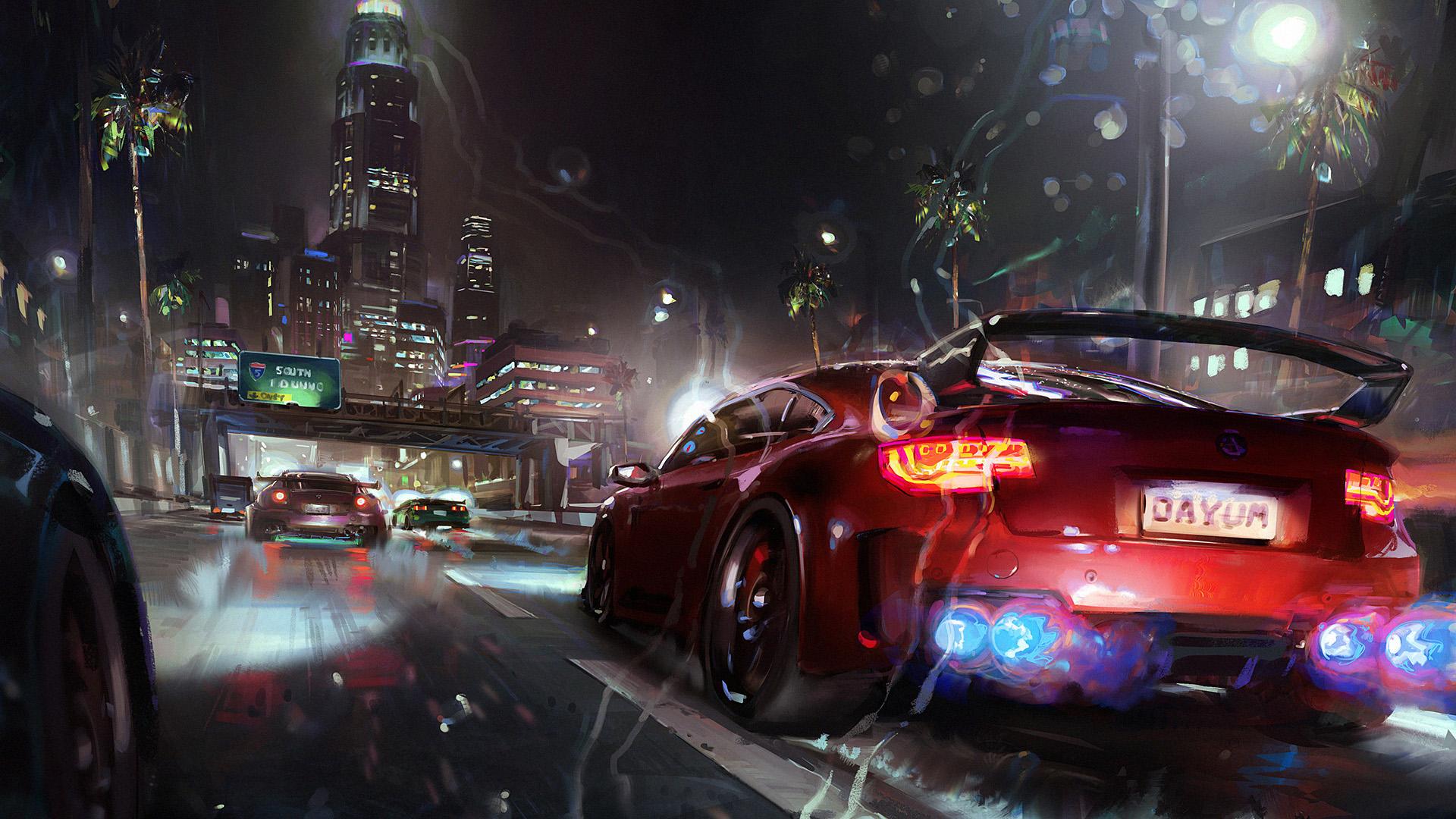 游戏壁纸,赛车,雨夜,城市,未来,跑车,速度