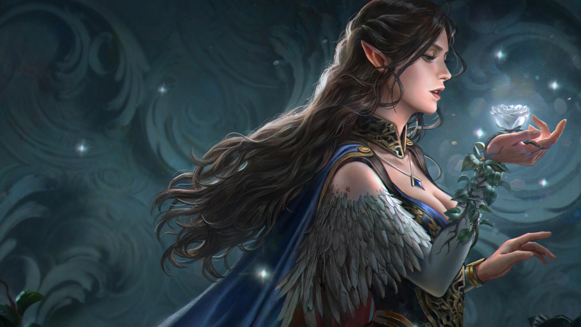 游戏壁纸,主机游戏,精灵,魔法,女神,玫瑰
