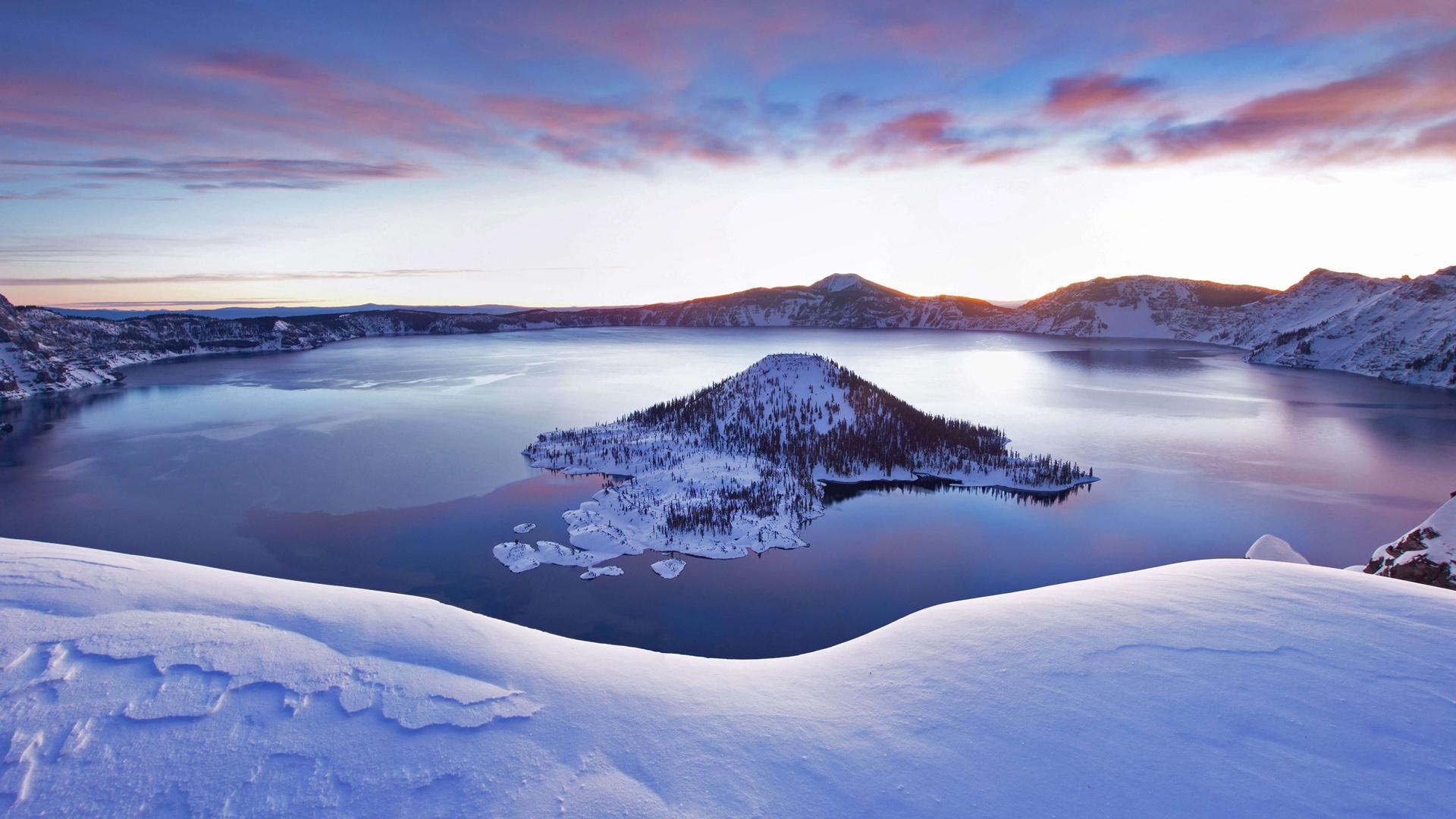 风景大片,冰天雪地,,冬天,,雪,,高山,,湖中小山