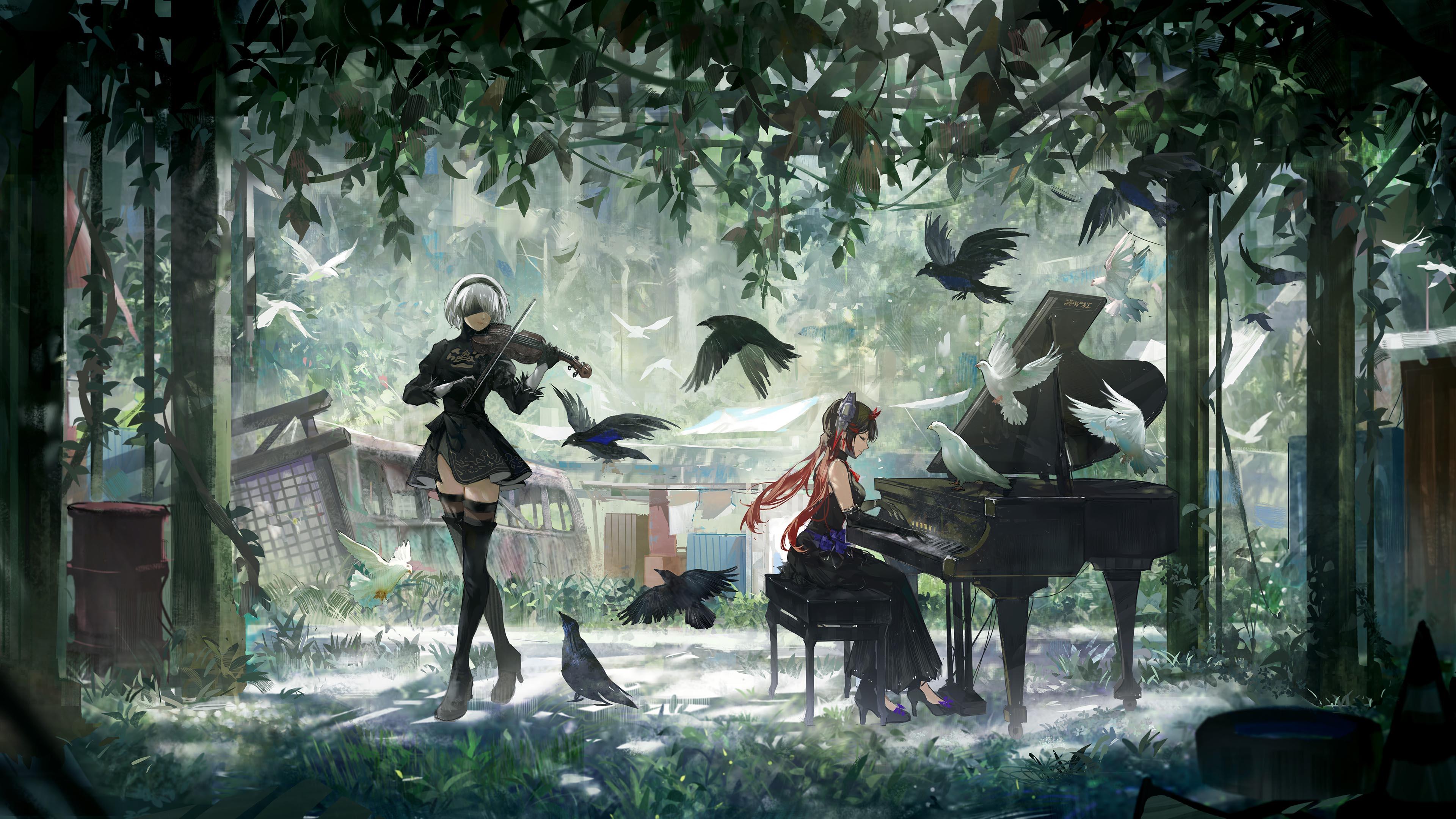 游戏壁纸,主机游戏,机械纪元,钢琴,鹰妹,鸽子,树林