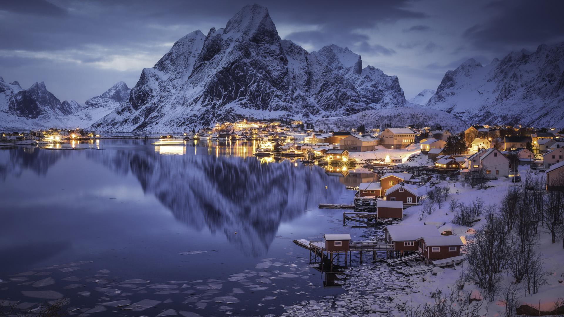 风景大片,冰天雪地,夜景,湖水,雪山