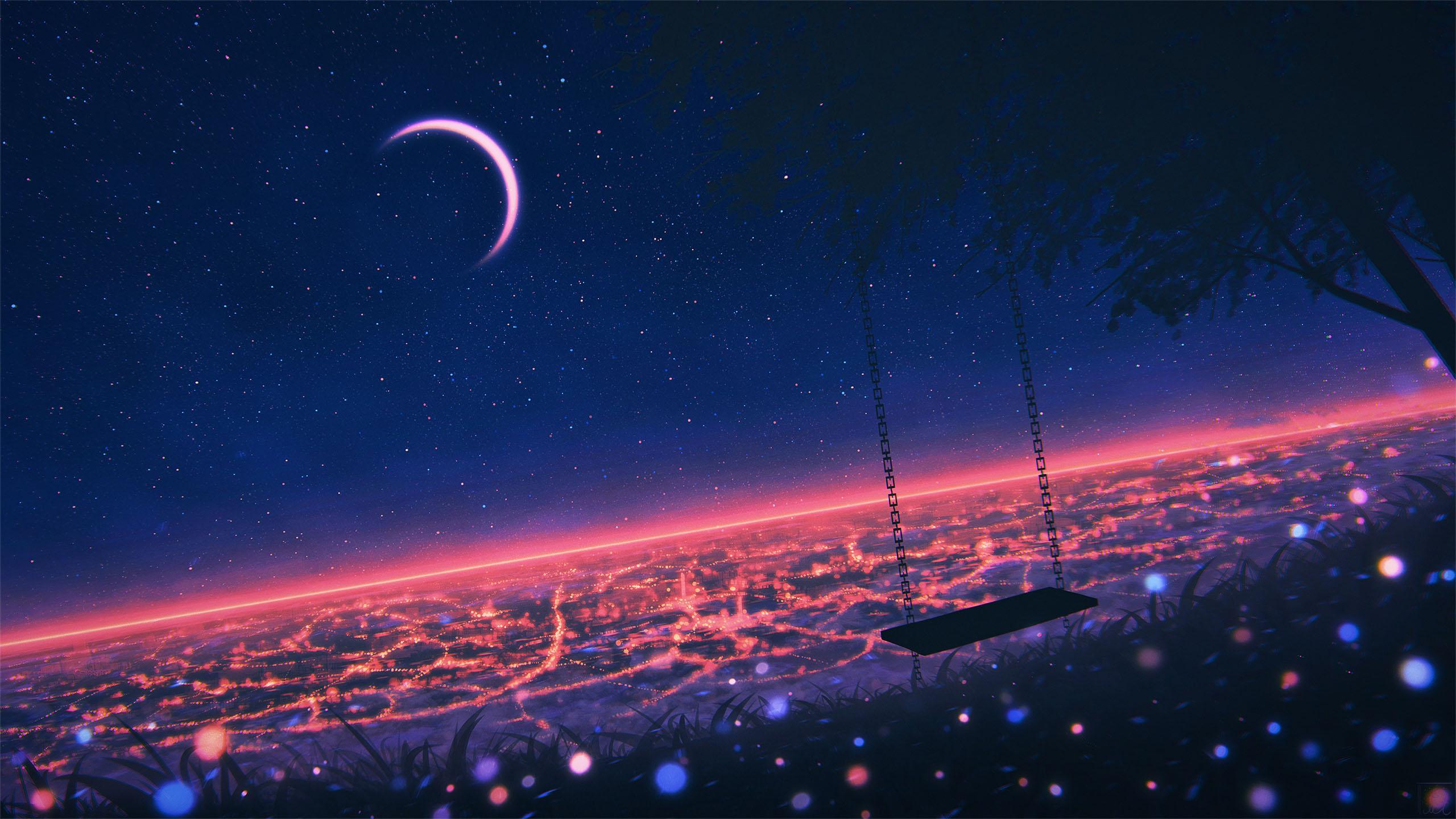 动漫卡通,城市夜景,月亮,秋千,灯光,光影