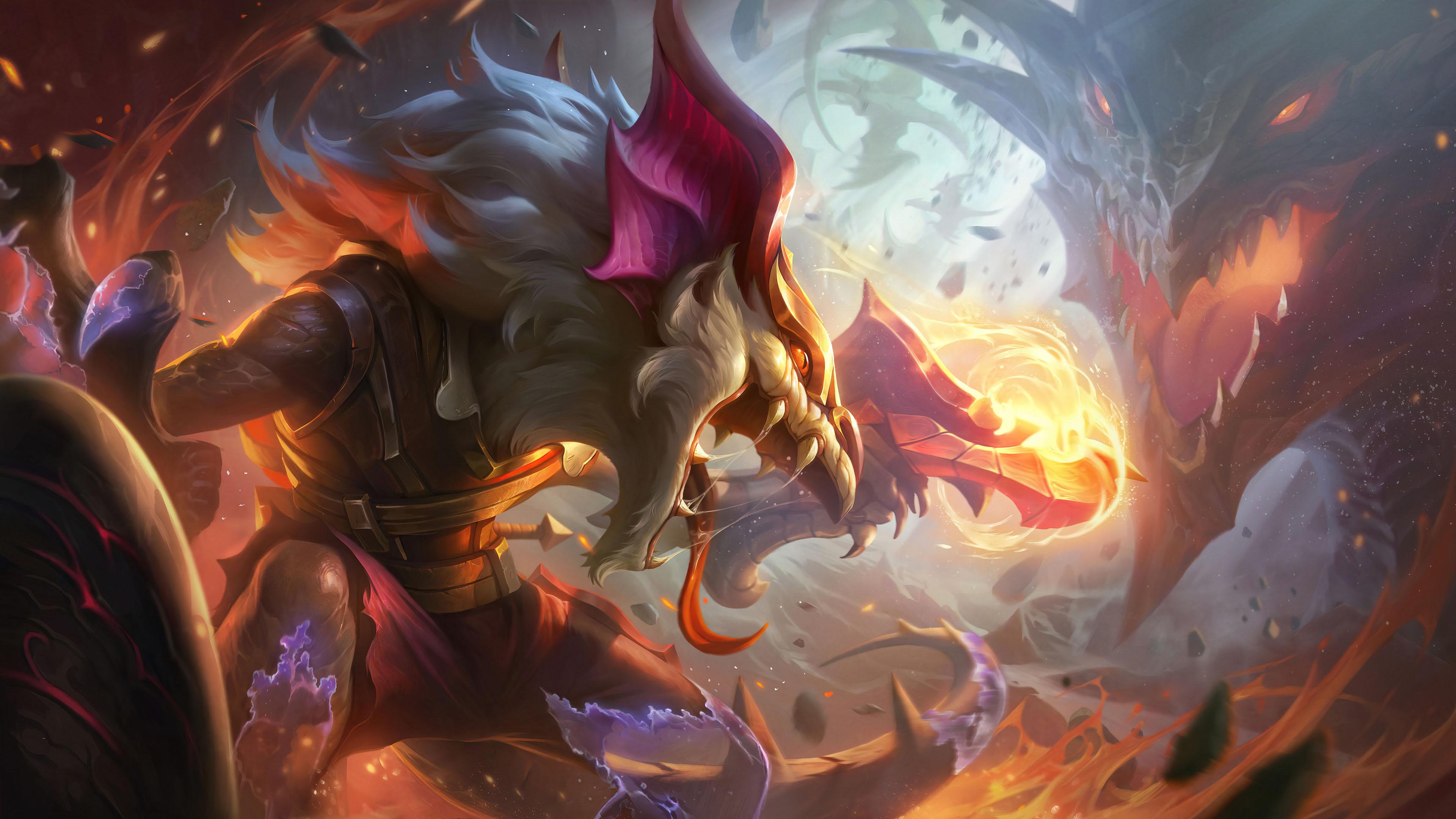 游戏壁纸,英雄联盟,LOL,龙,火焰