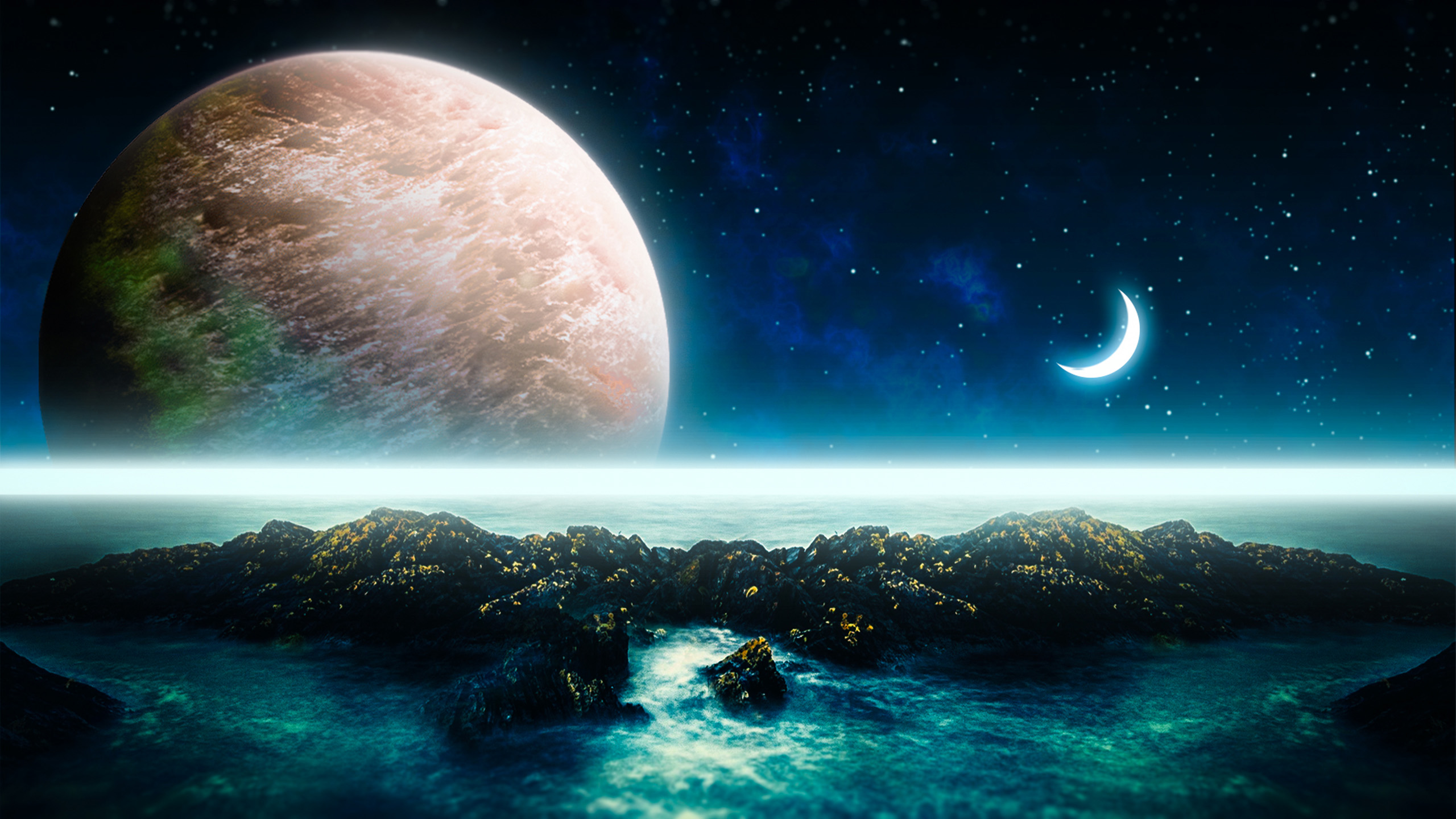 风景大片,奇幻梦境,星球,月亮,海洋,繁星