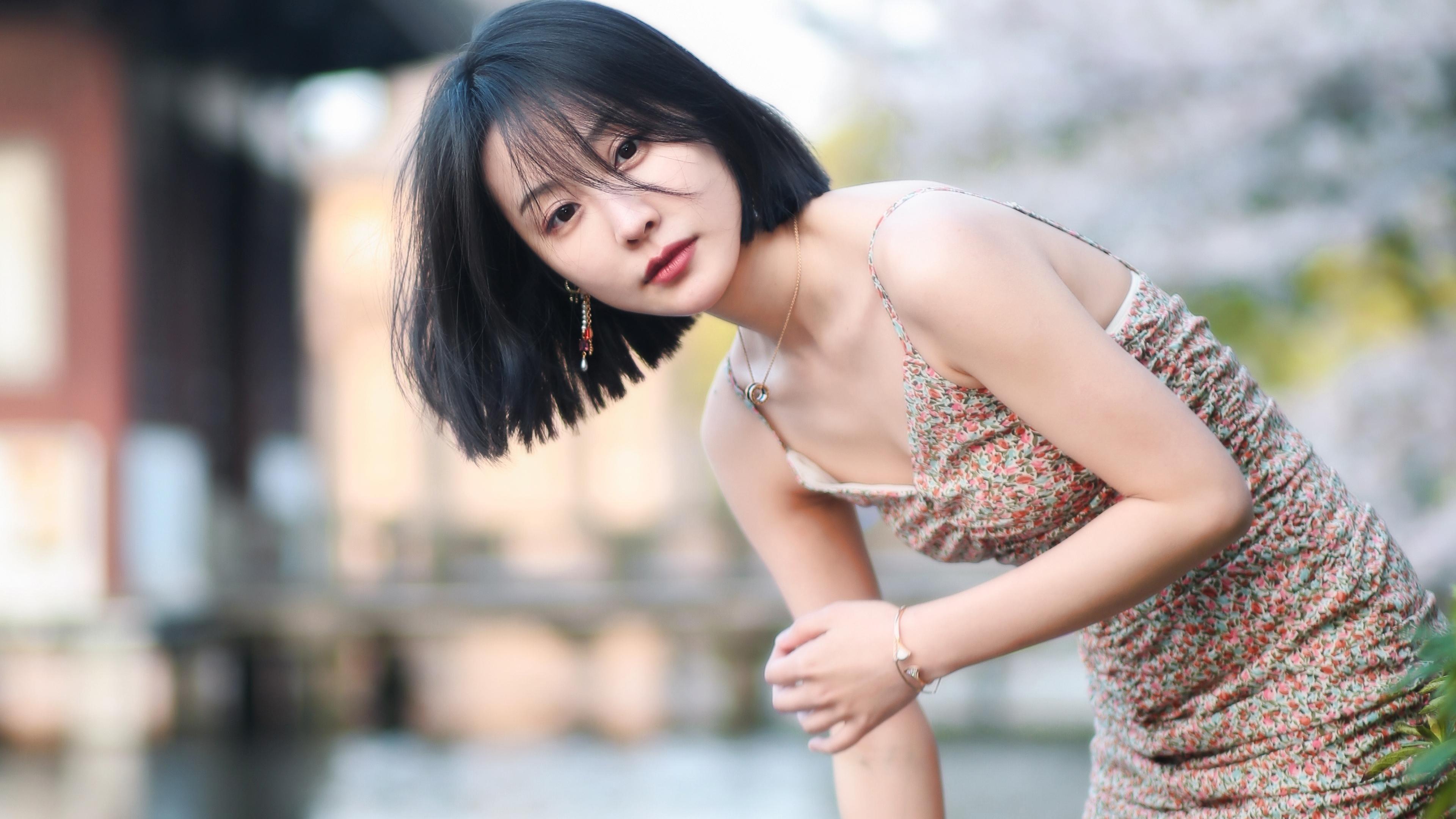 美女模特,清纯,美肩,短发,清凉