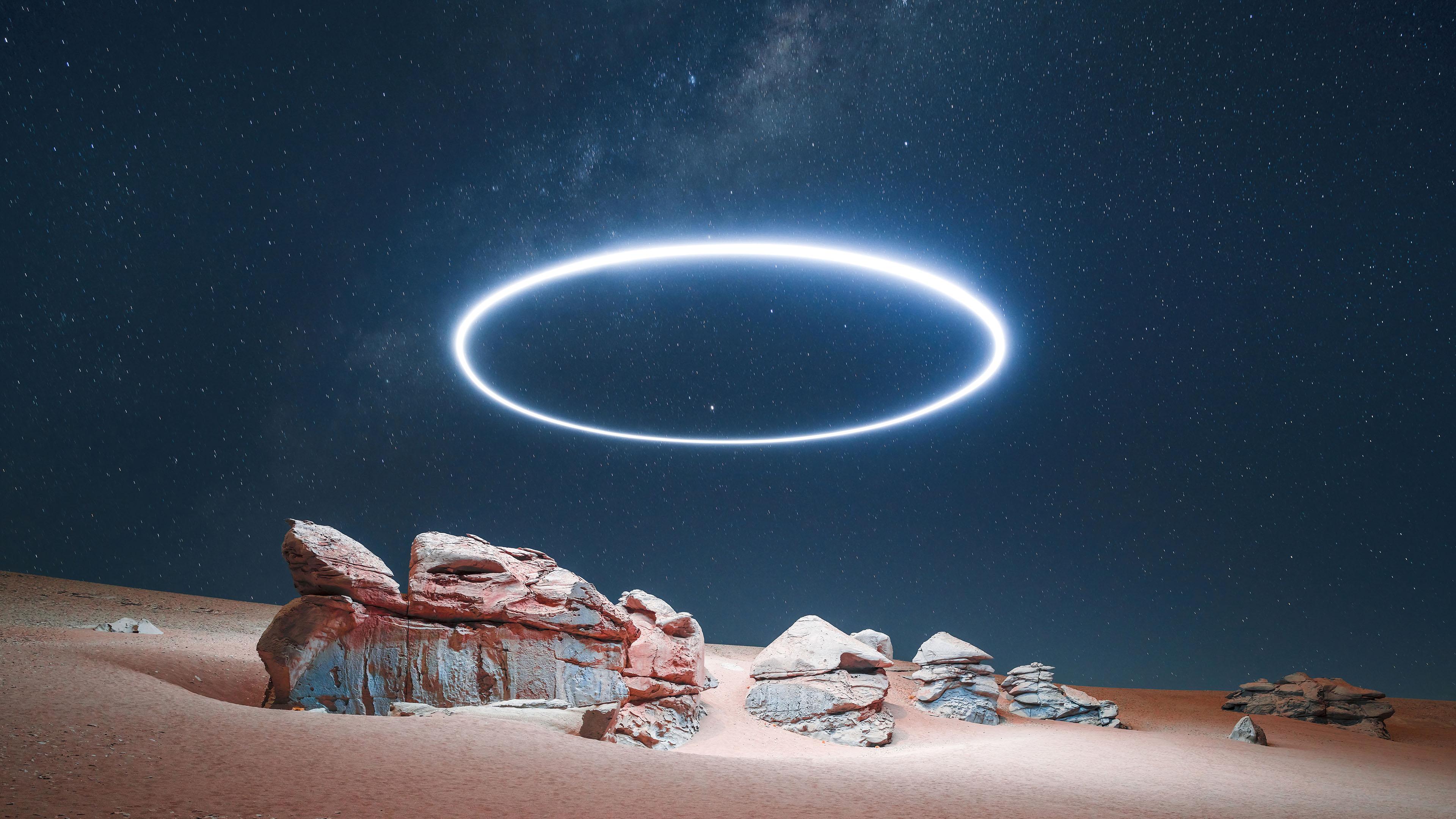 风景大片,奇幻梦境,沙漠,星空,繁星,,光圈