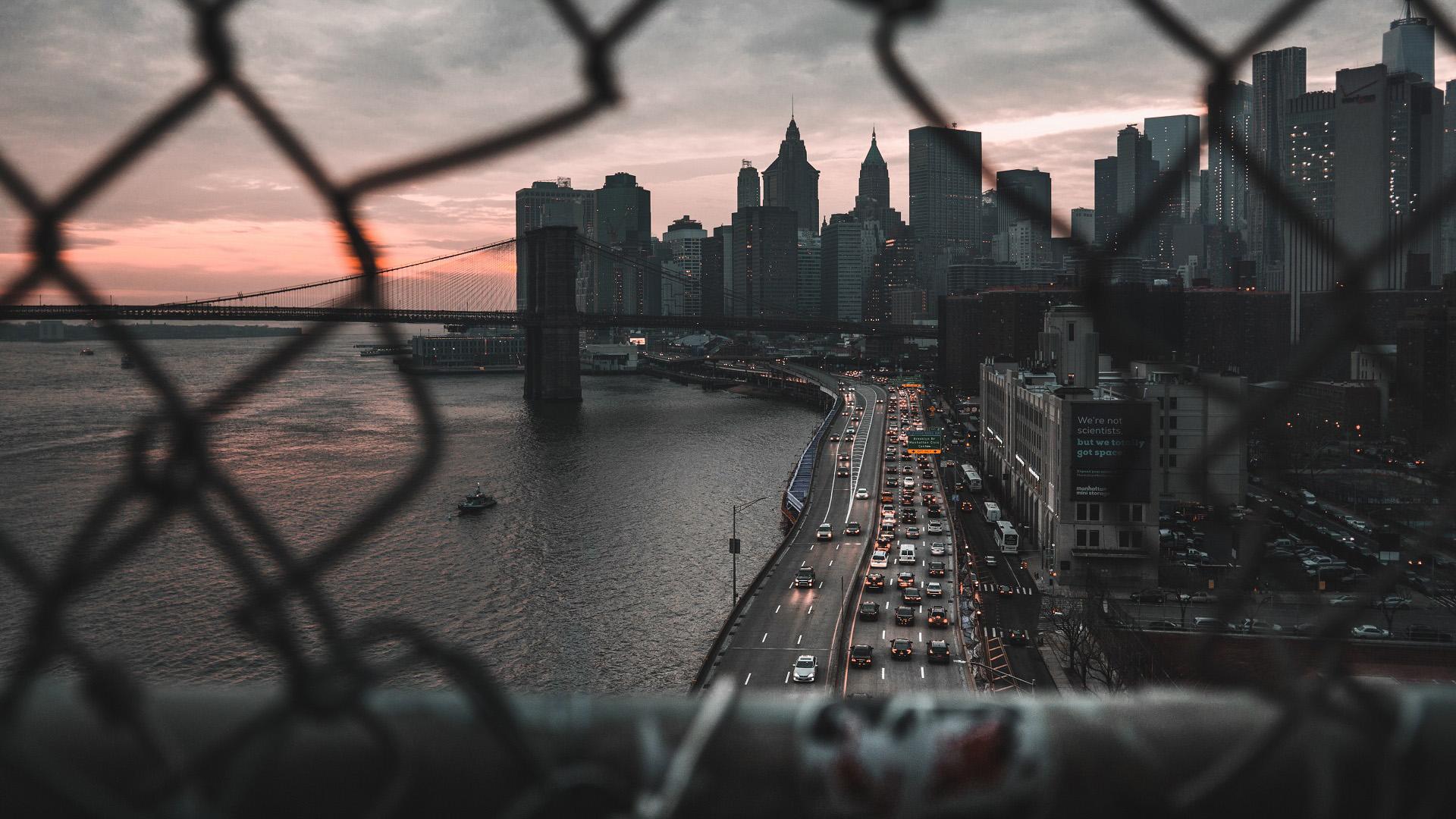风景大片,城市夜景,都市,铁网,纽约