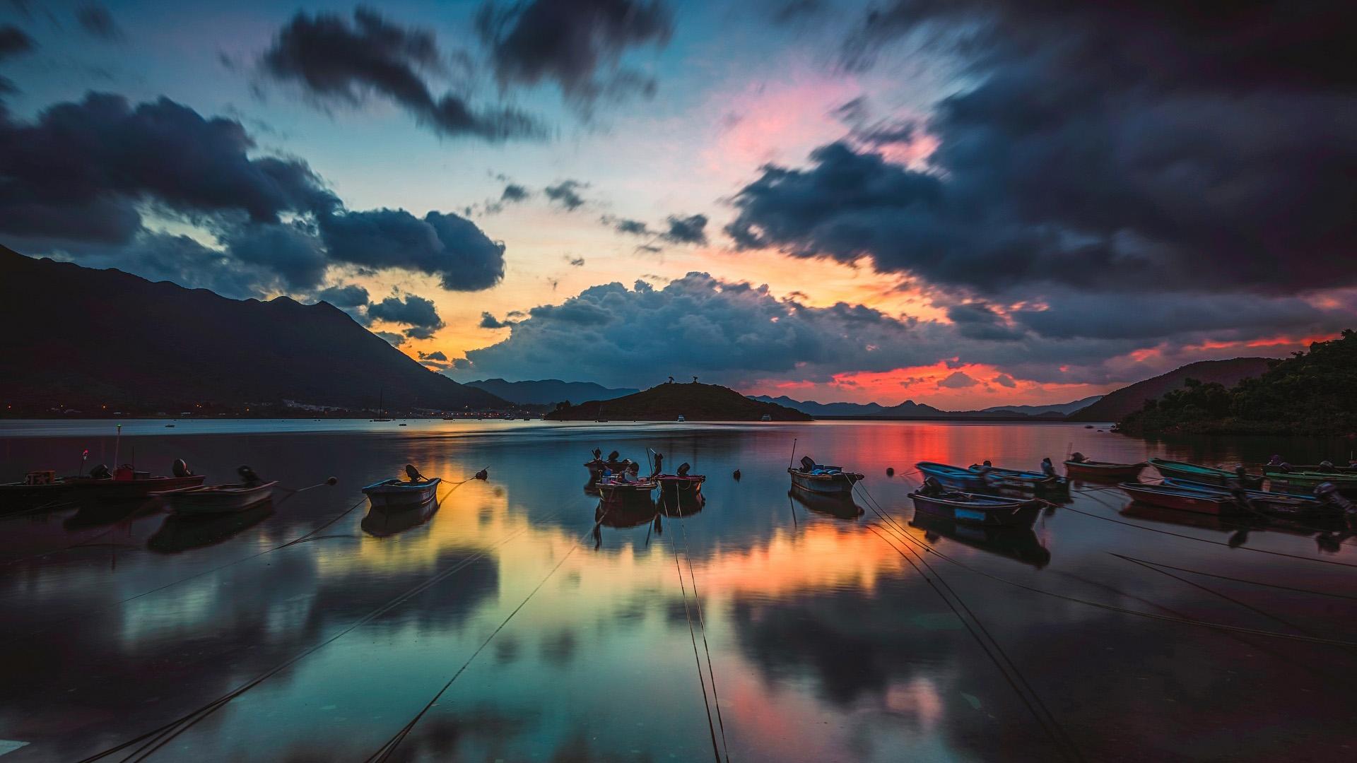 风景大片,落日余晖,晚霞,渔船,红霞,倒影