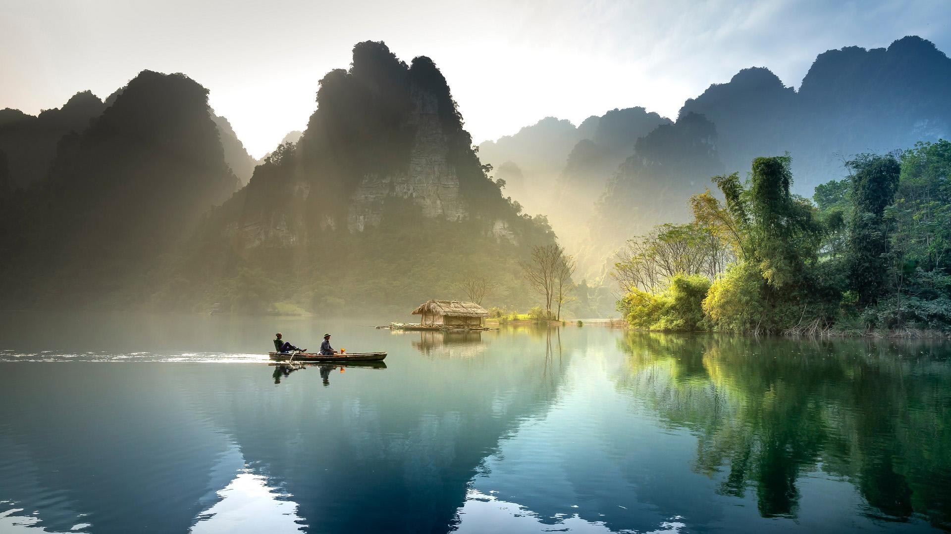 风景大片,自然风光,小船,木筏,桂林山水,倒影,仙境