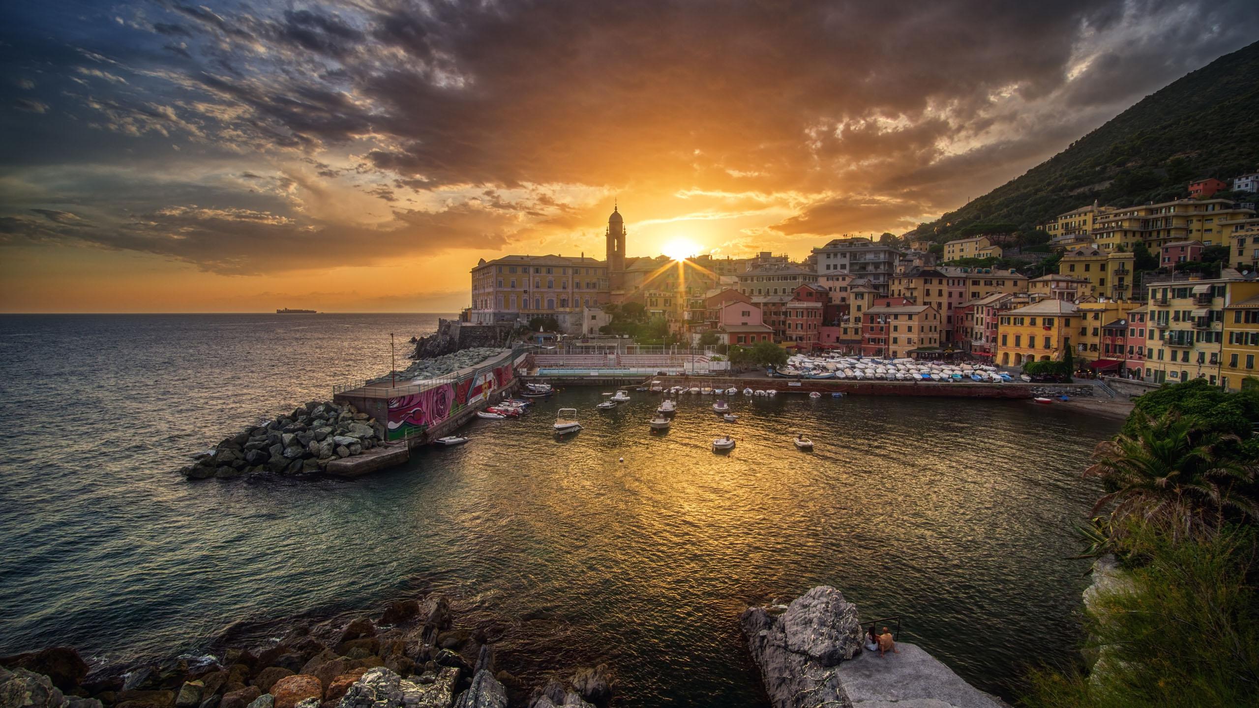 风景大片,海洋天堂,五渔村,日出,渔港,渔船,意大利