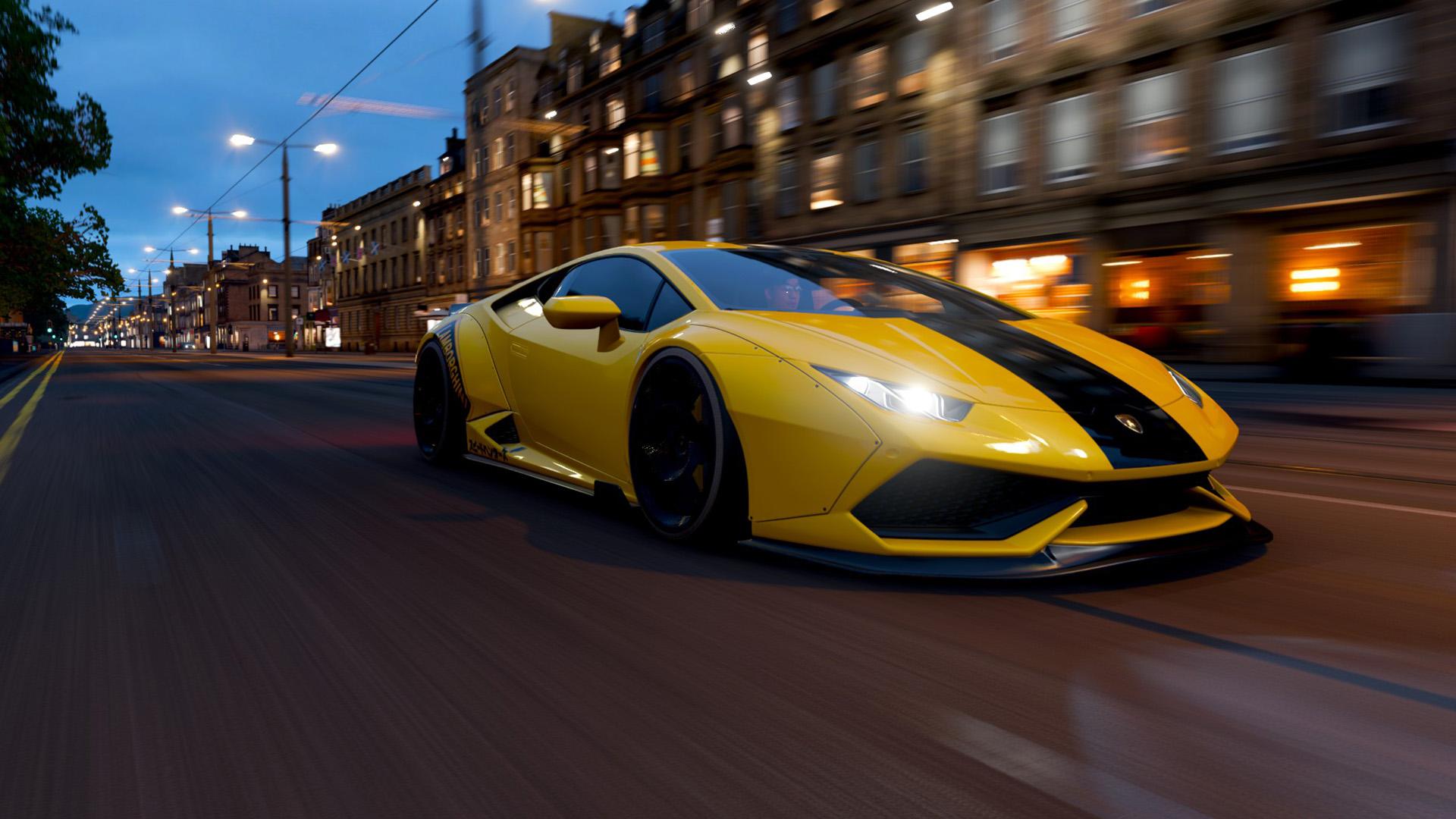 游戏壁纸,兰博基尼,城市夜景,街道,跑车