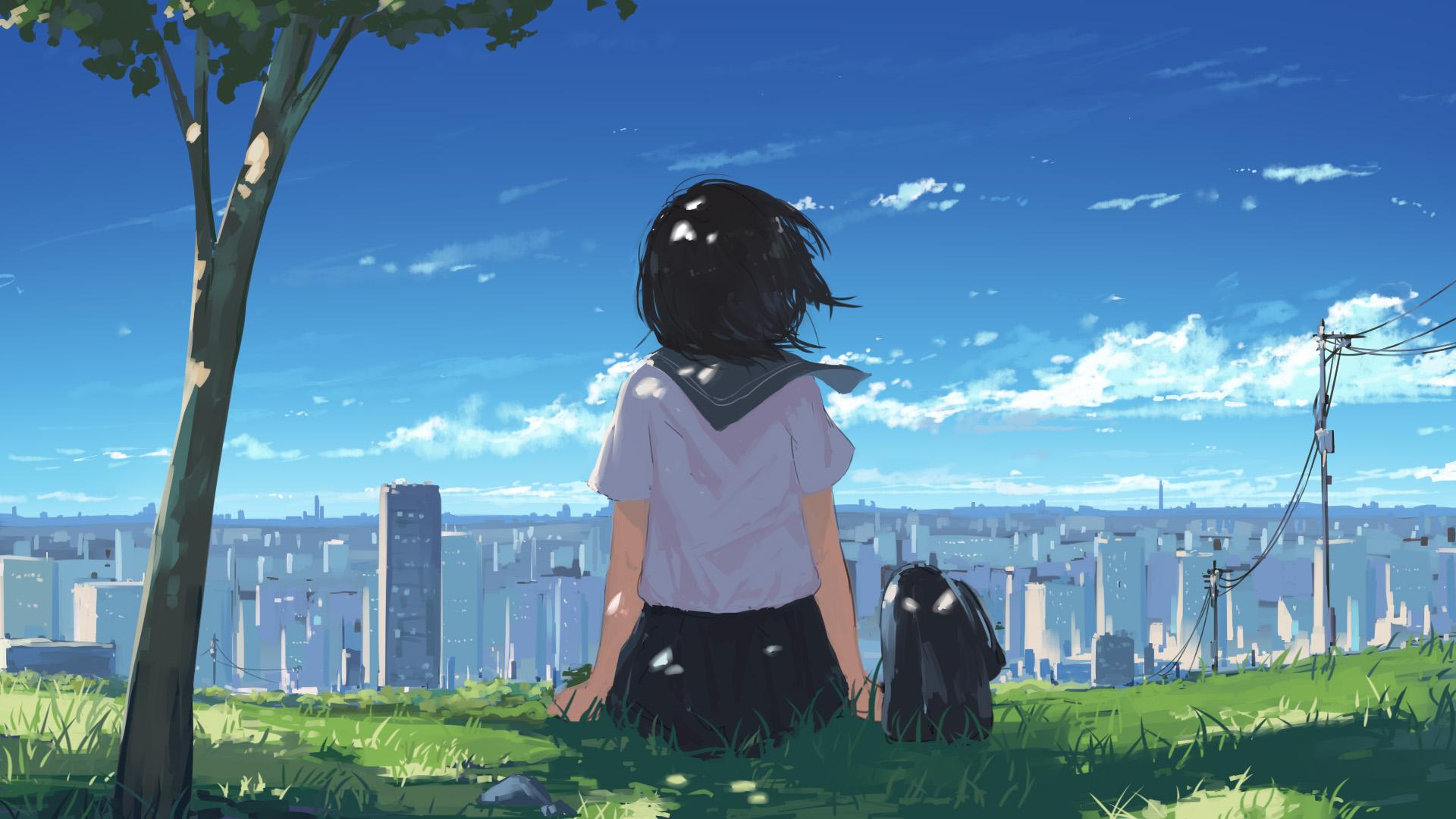 动漫卡通,校服,城市,山坡,天空,微风