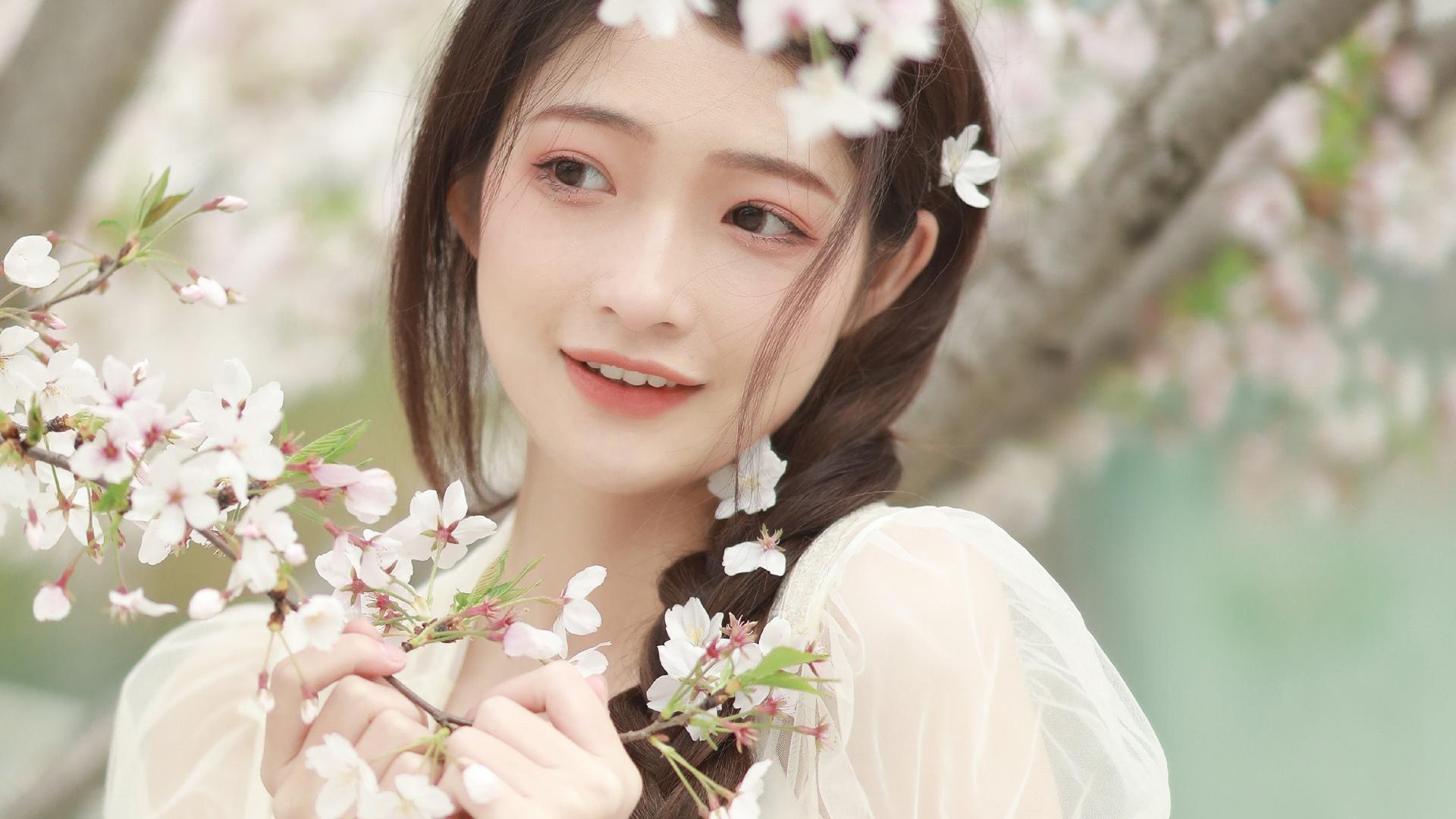 美女模特,清纯,樱花,仙女,春天