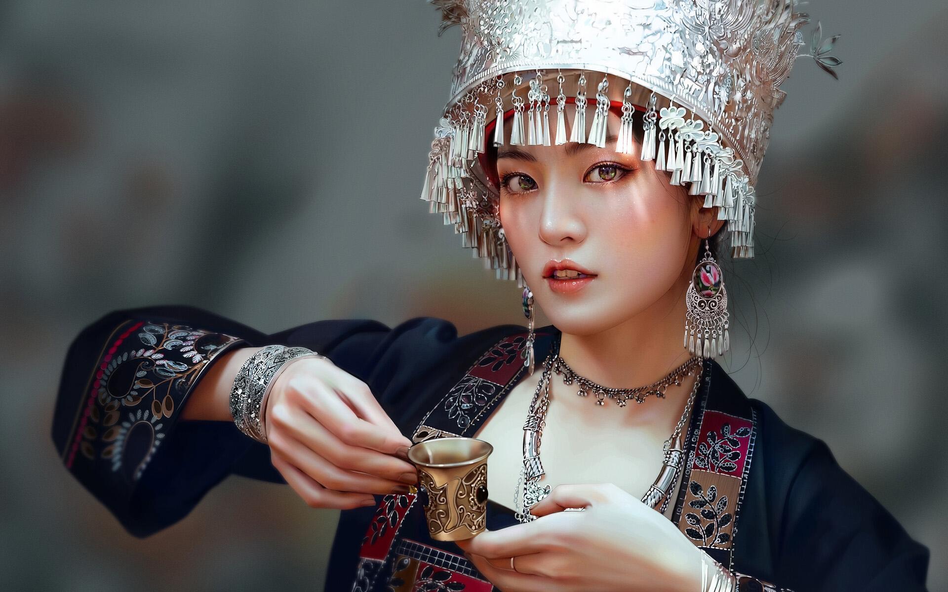 美女模特,文艺古风,民族服饰,首饰,酒杯