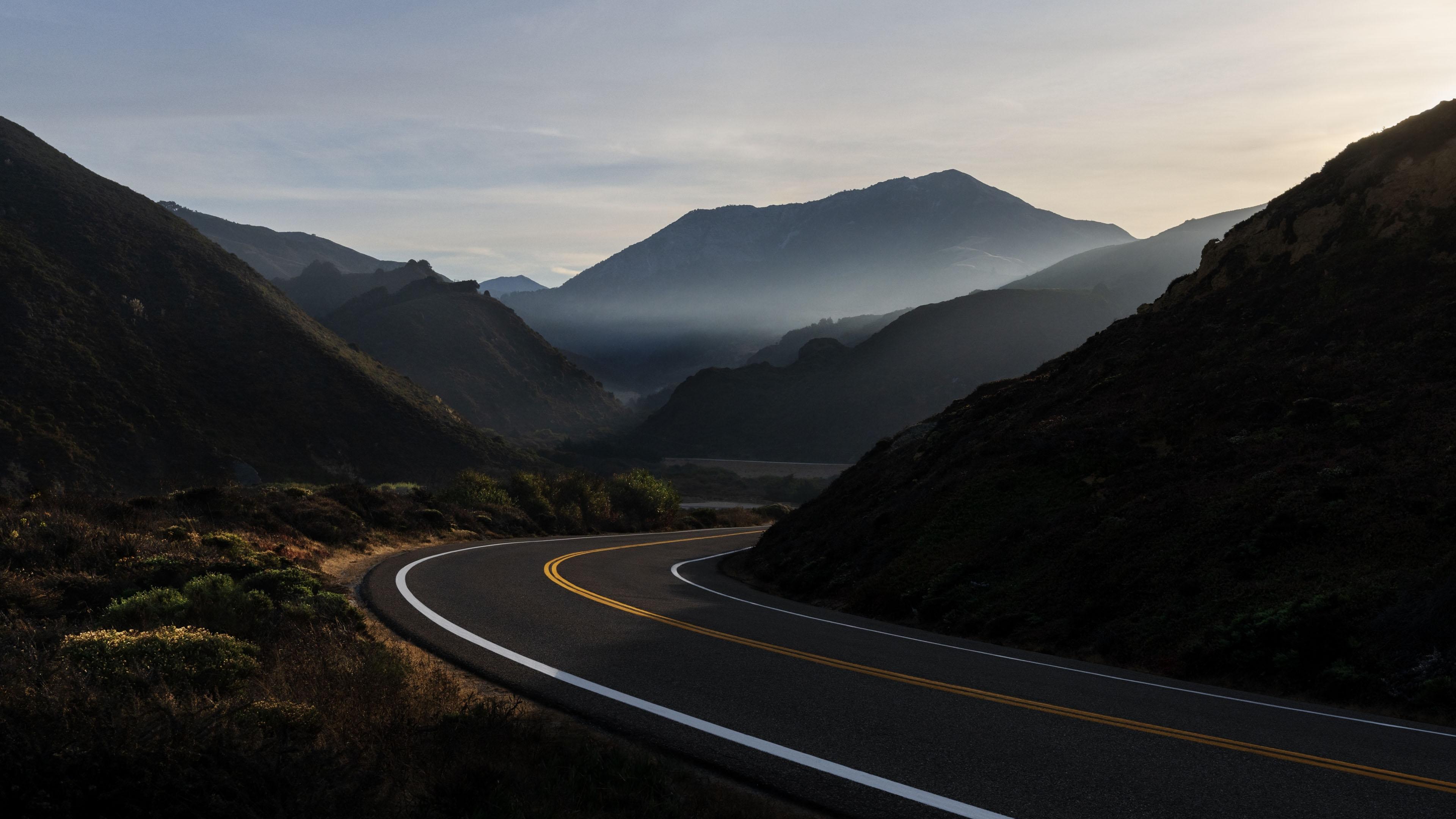 风景大片,自然风光,公路,山涧,傍晚,蜿蜒