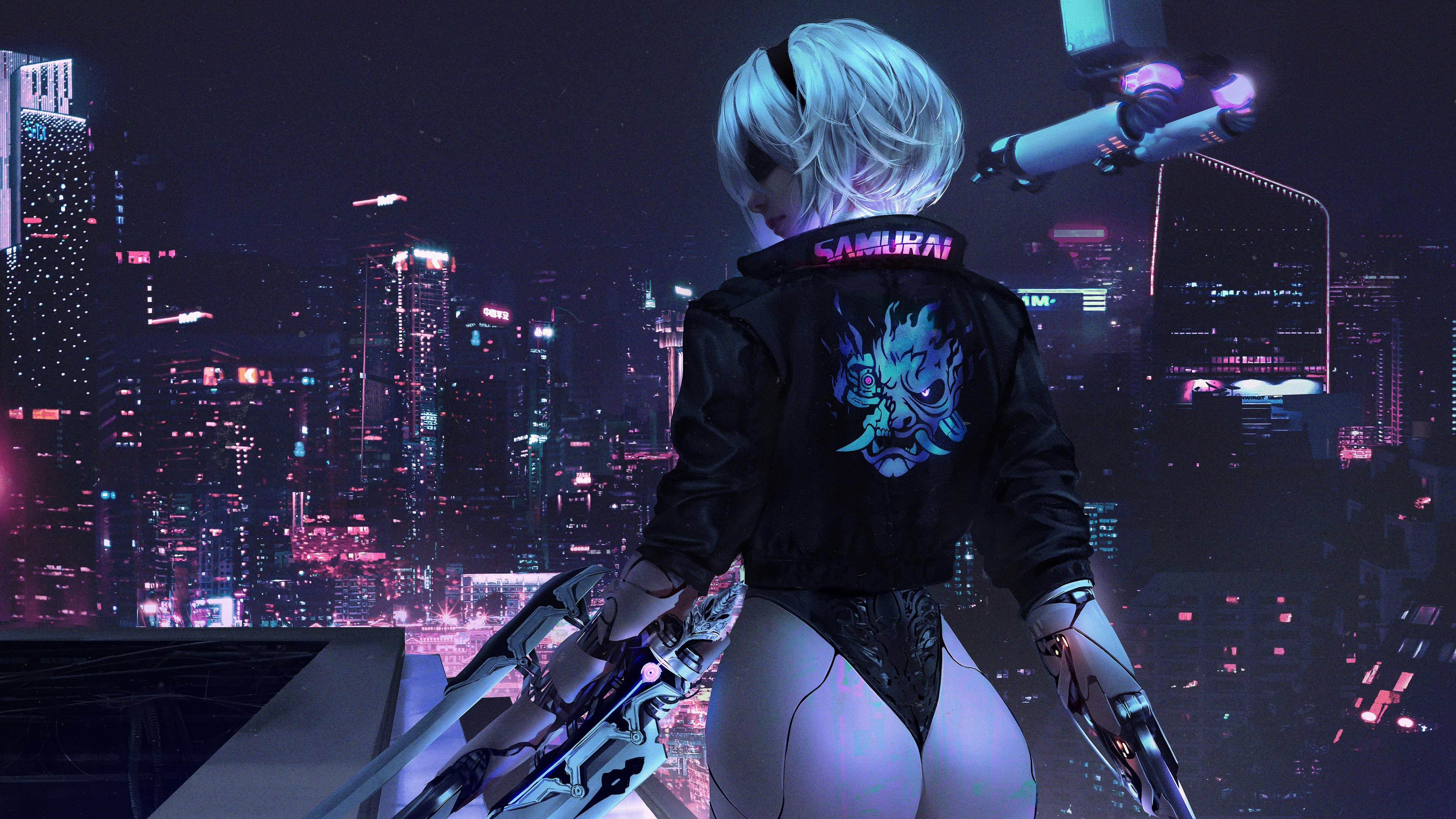 游戏壁纸,主机游戏,赛博朋克2077,未来,深夜,夜景,科技