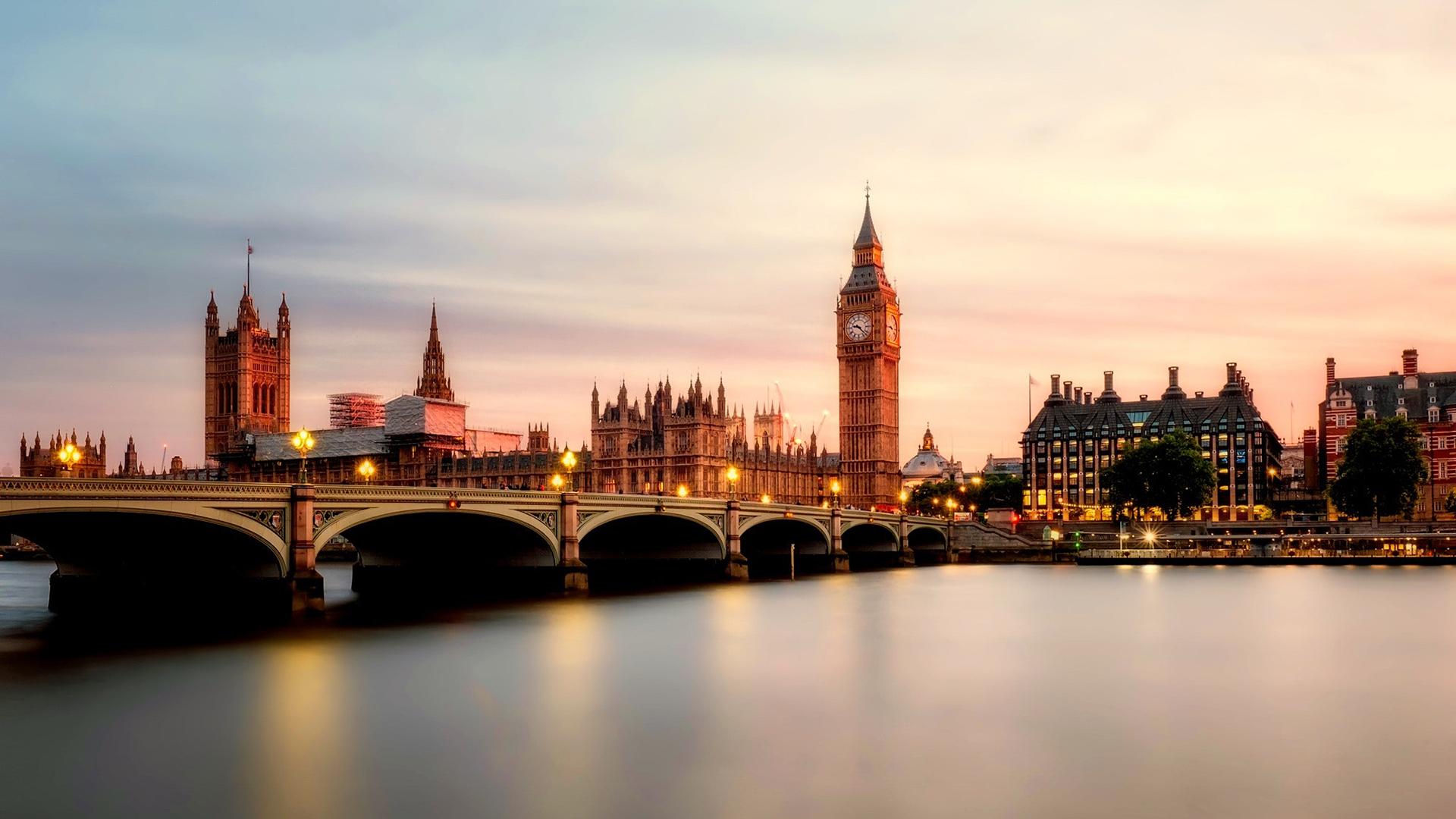 风景大片,城市夜景,,伦敦,桥,大钟