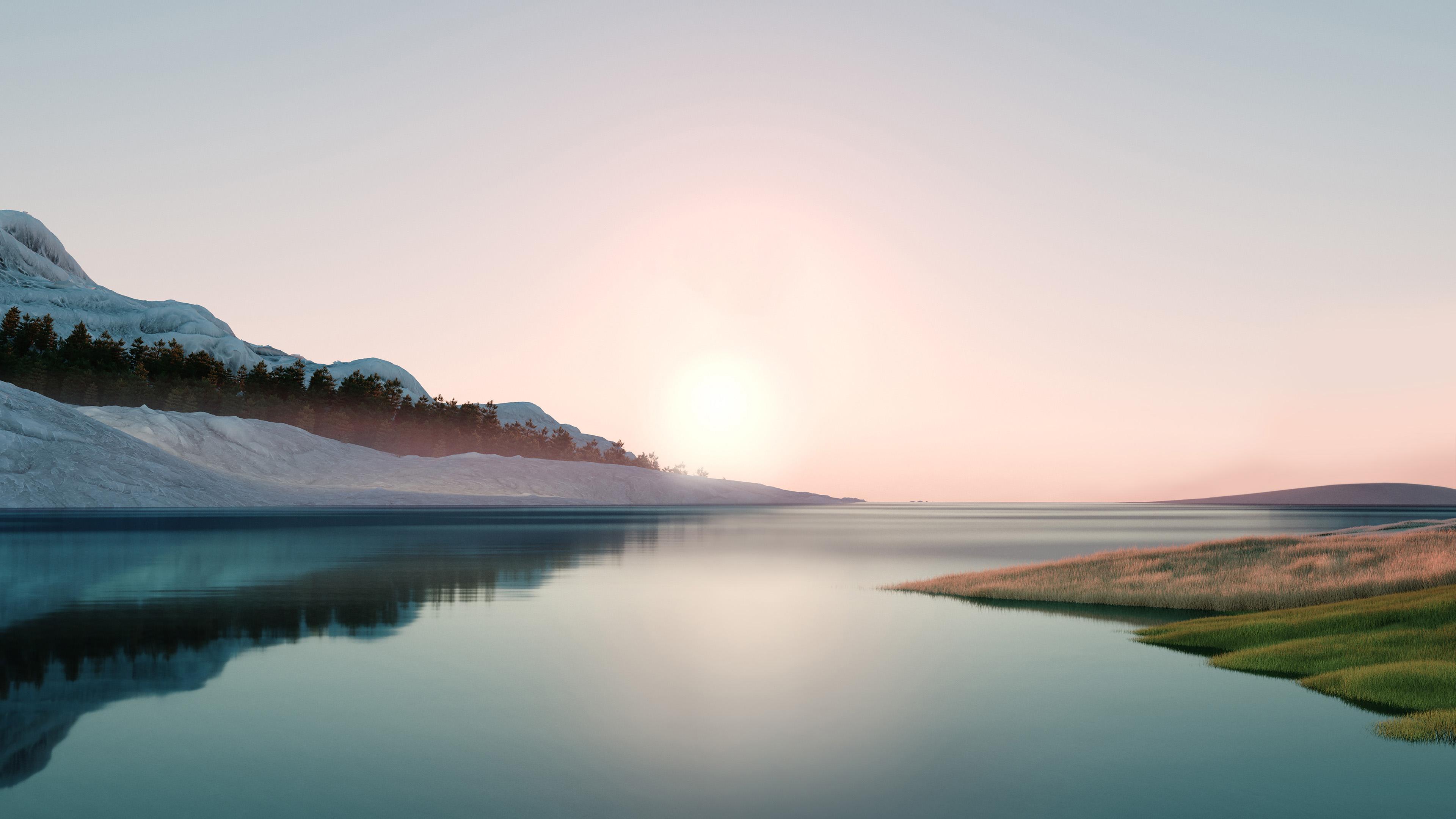 4K专区,日出,平静的湖面,倒影