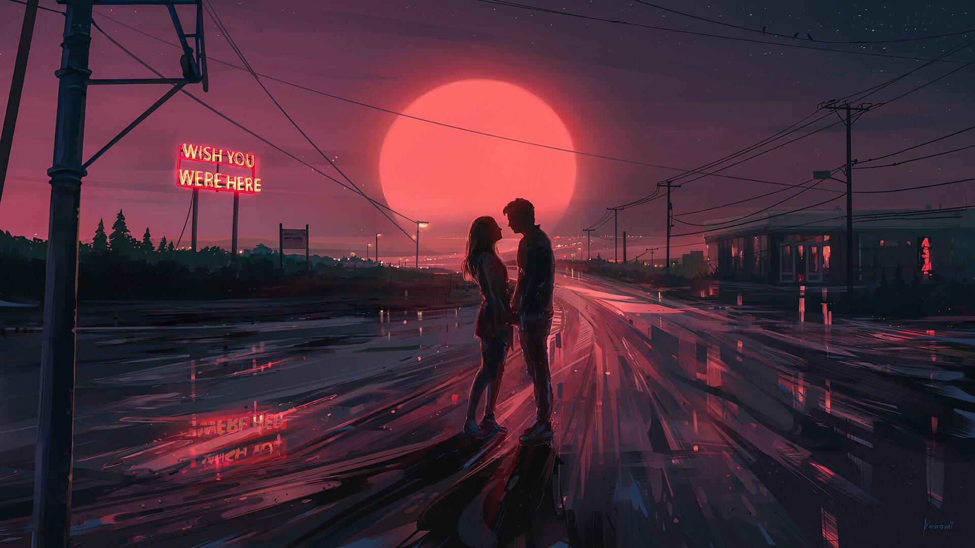 爱情美图,唯美温馨,浪漫,落霞,爱情