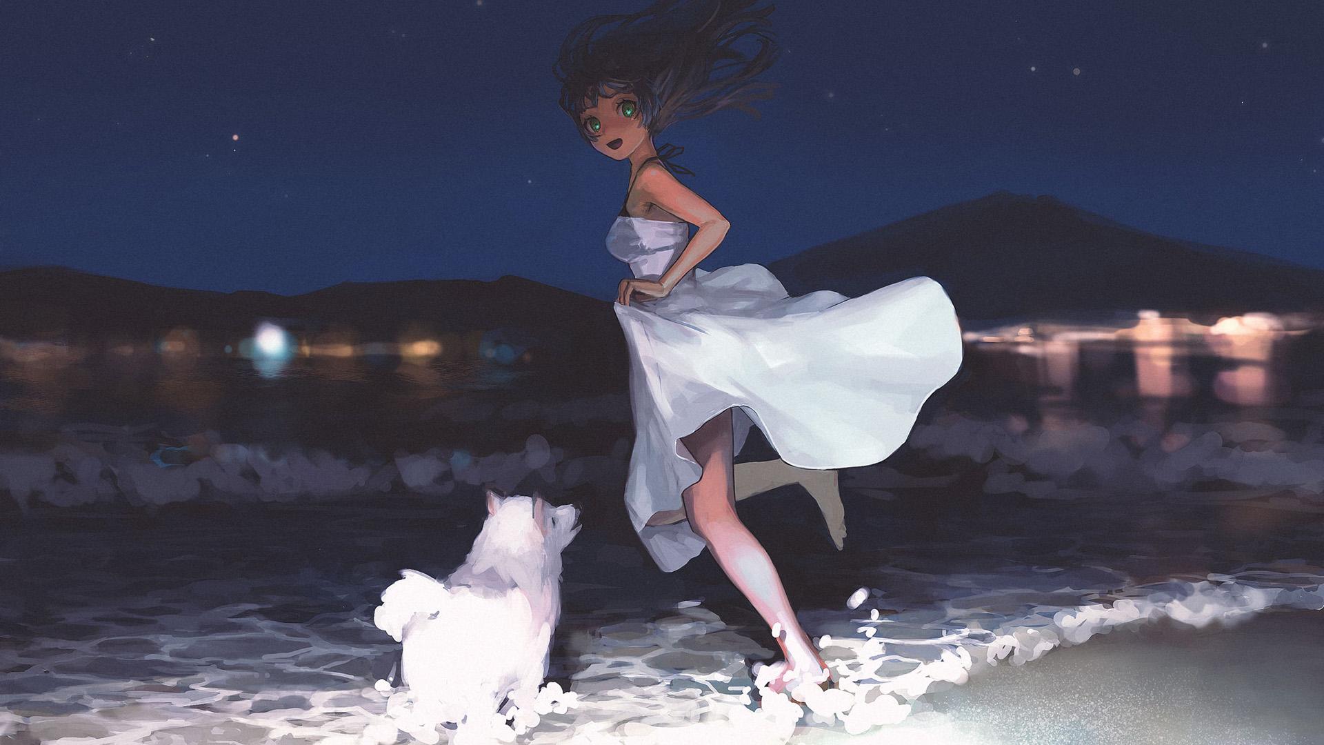 动漫卡通,夜晚的海边,狗狗,可爱女孩