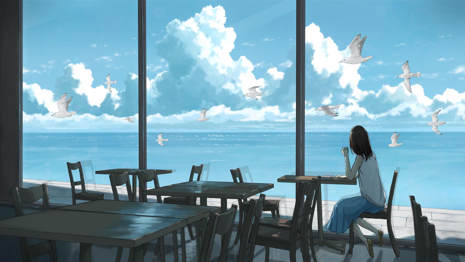 动漫卡通,海洋和天空,咖啡厅,鸽子,海鸥