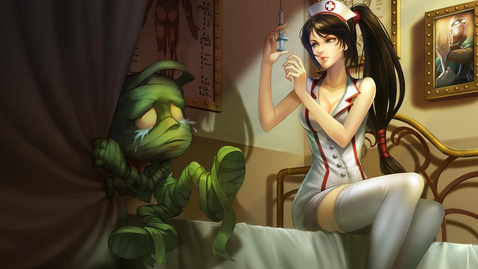 游戏壁纸,英雄联盟,LOL,僵尸,护士