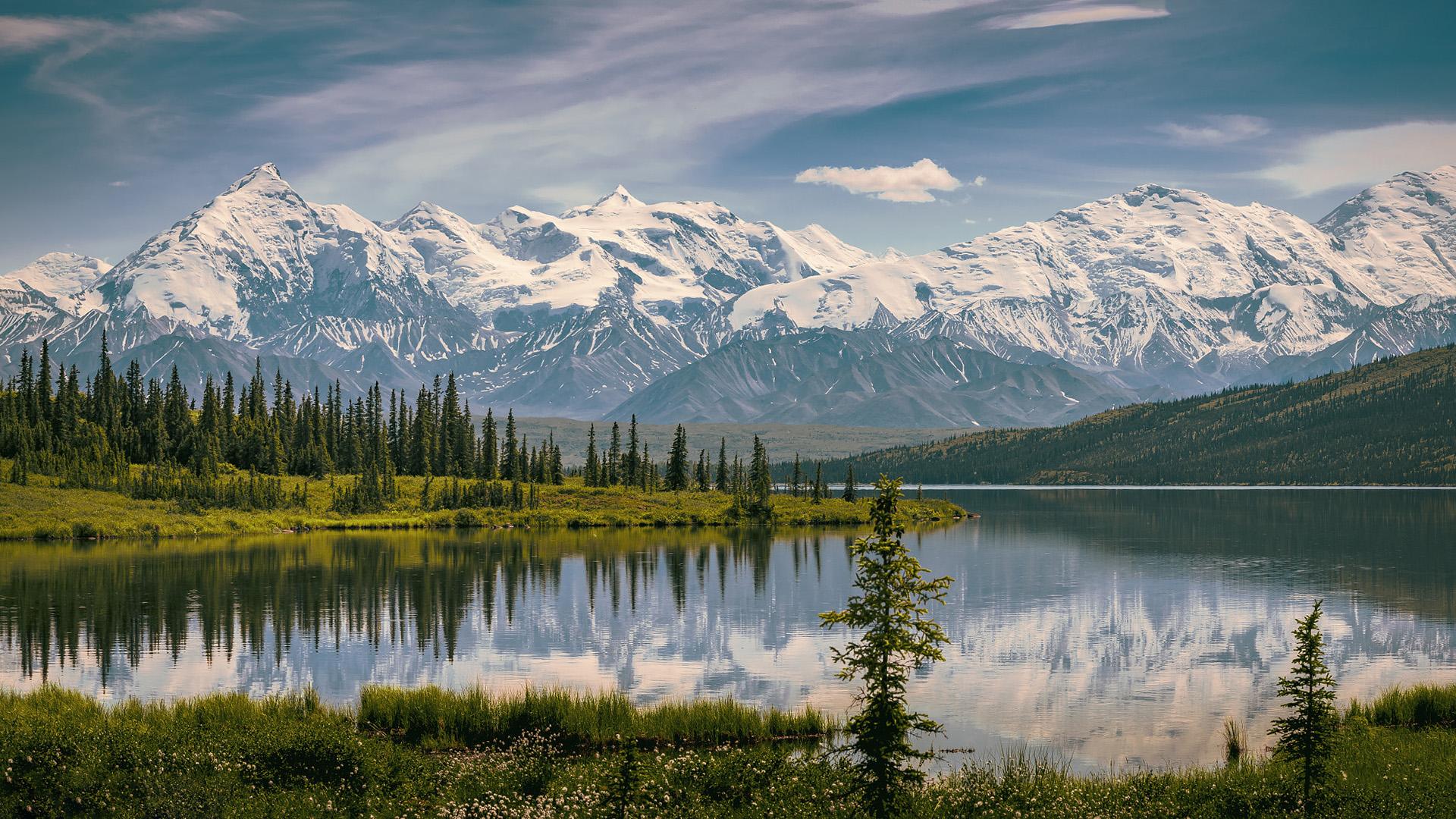 风景大片,冰天雪地,雪山,倒影,冰湖,树林