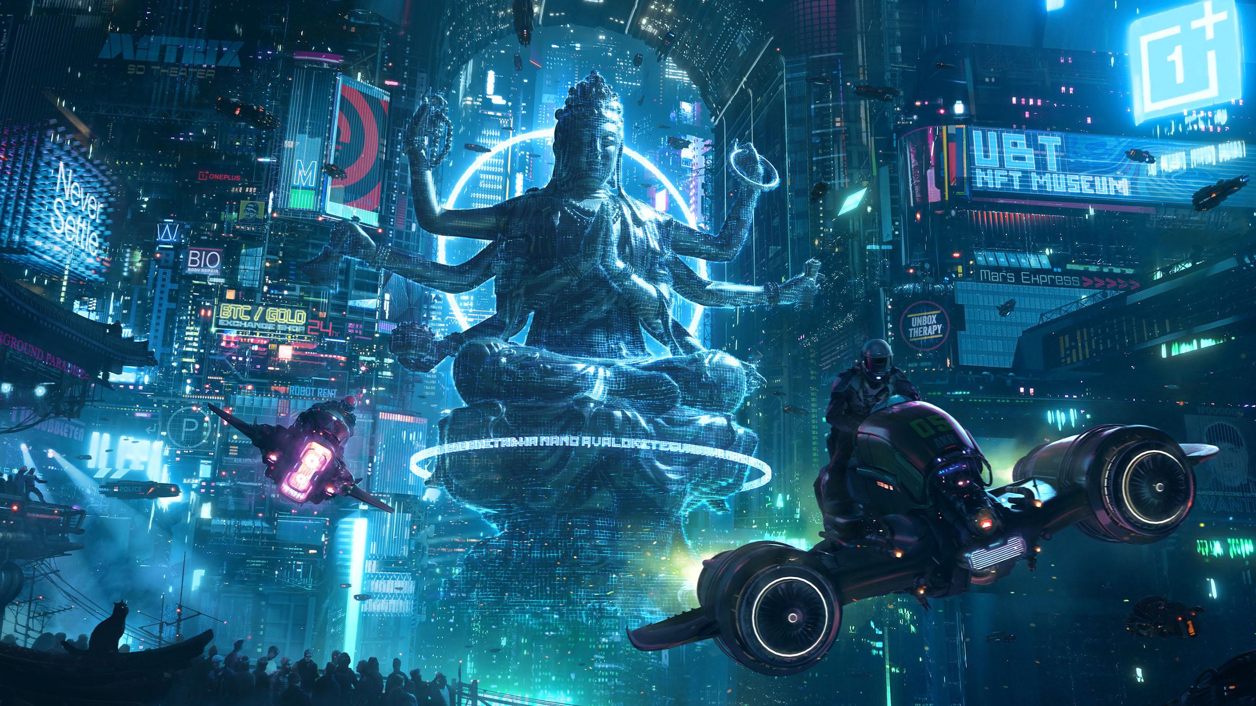 游戏壁纸,主机游戏,赛博朋克,未来城市,飞艇