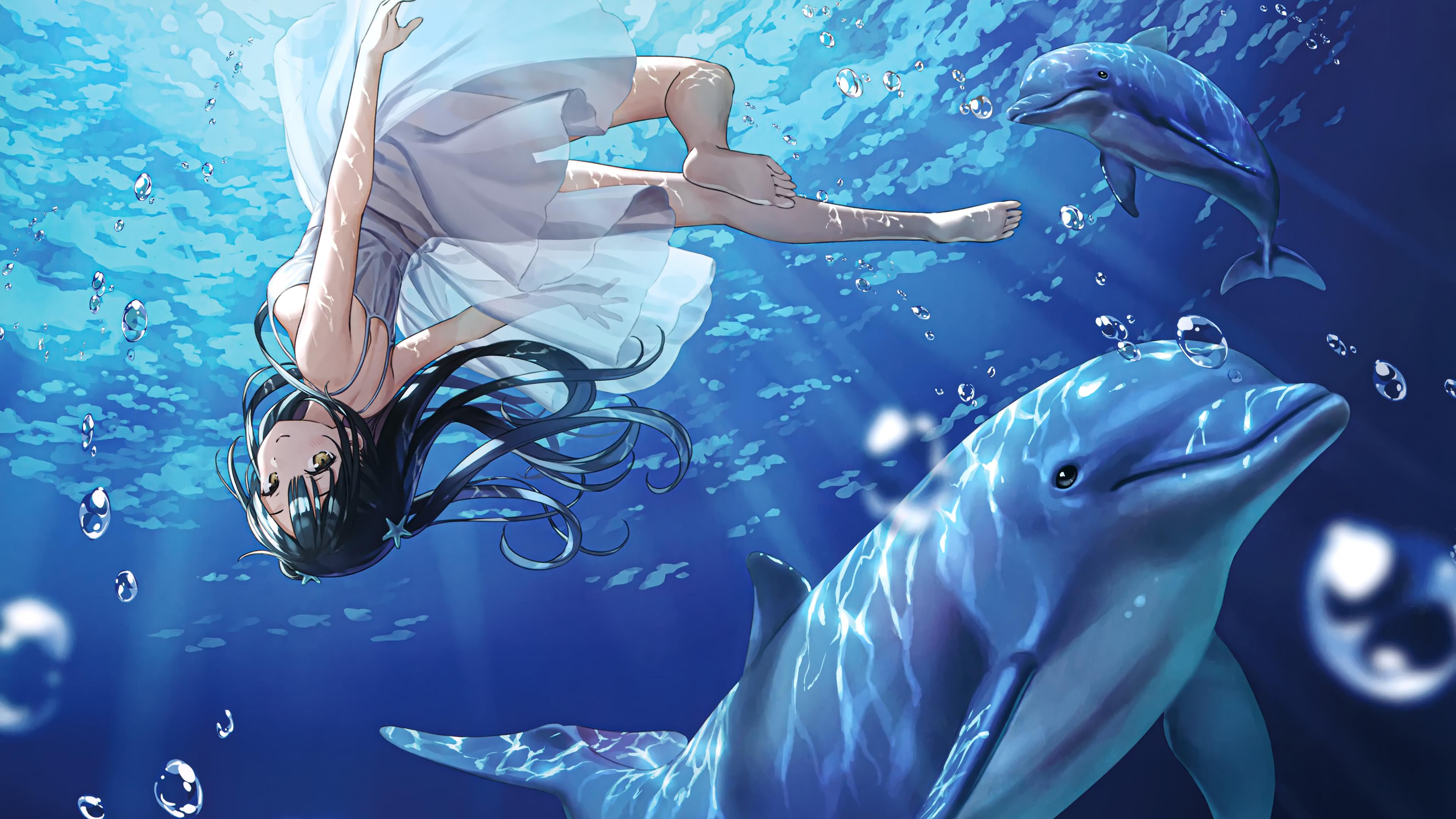 4K专区,海豚,深海,女孩