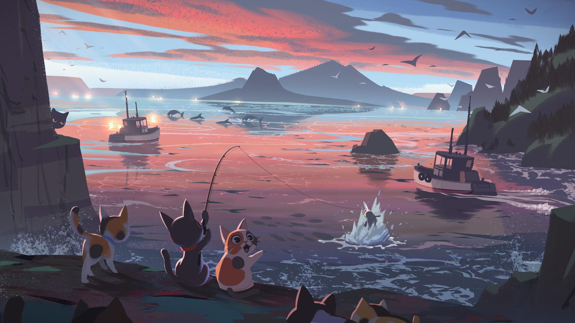 动漫卡通,猫咪钓鱼,海港,黄昏