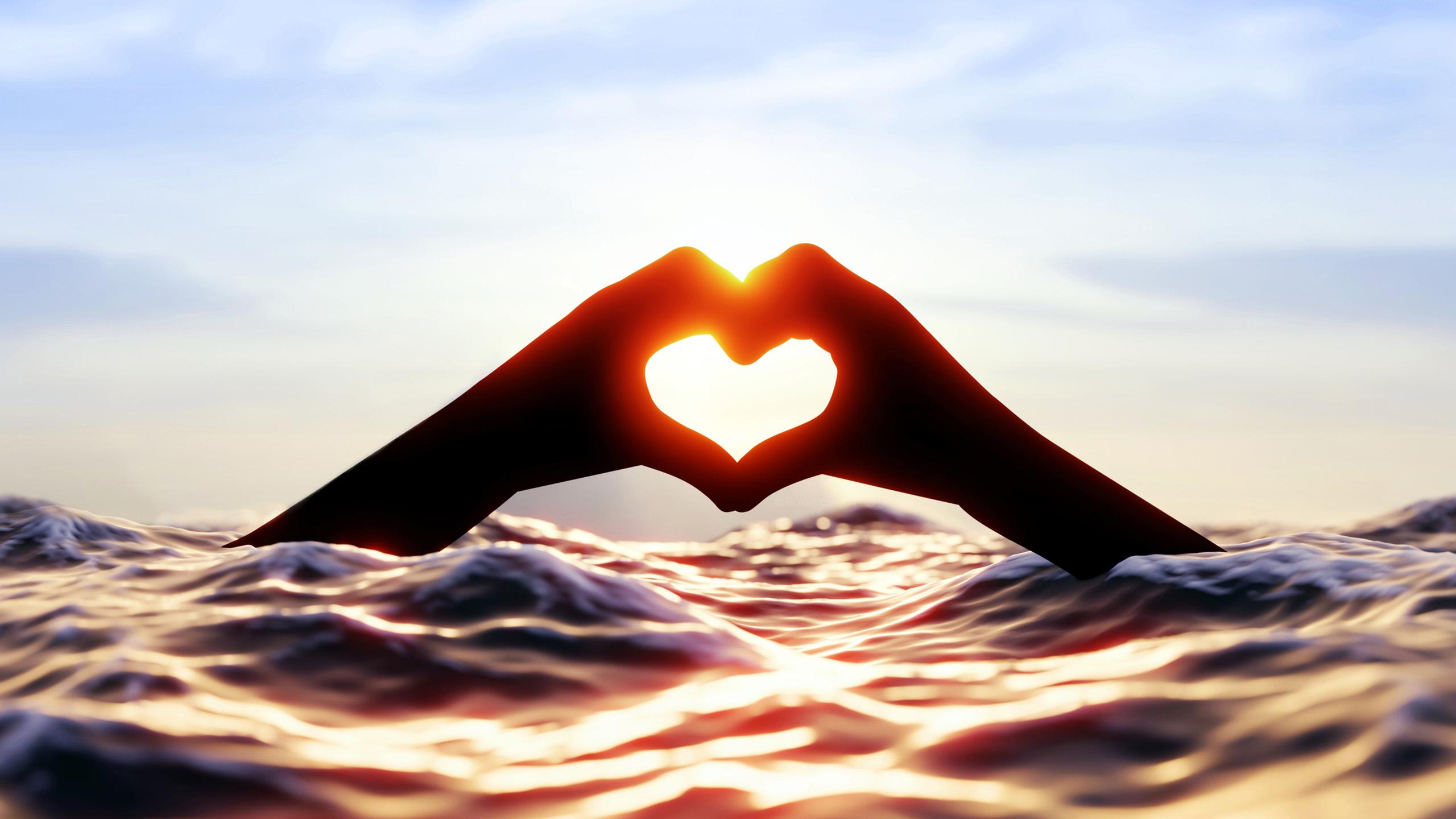 爱情美图,阳光,爱心,海浪,波浪