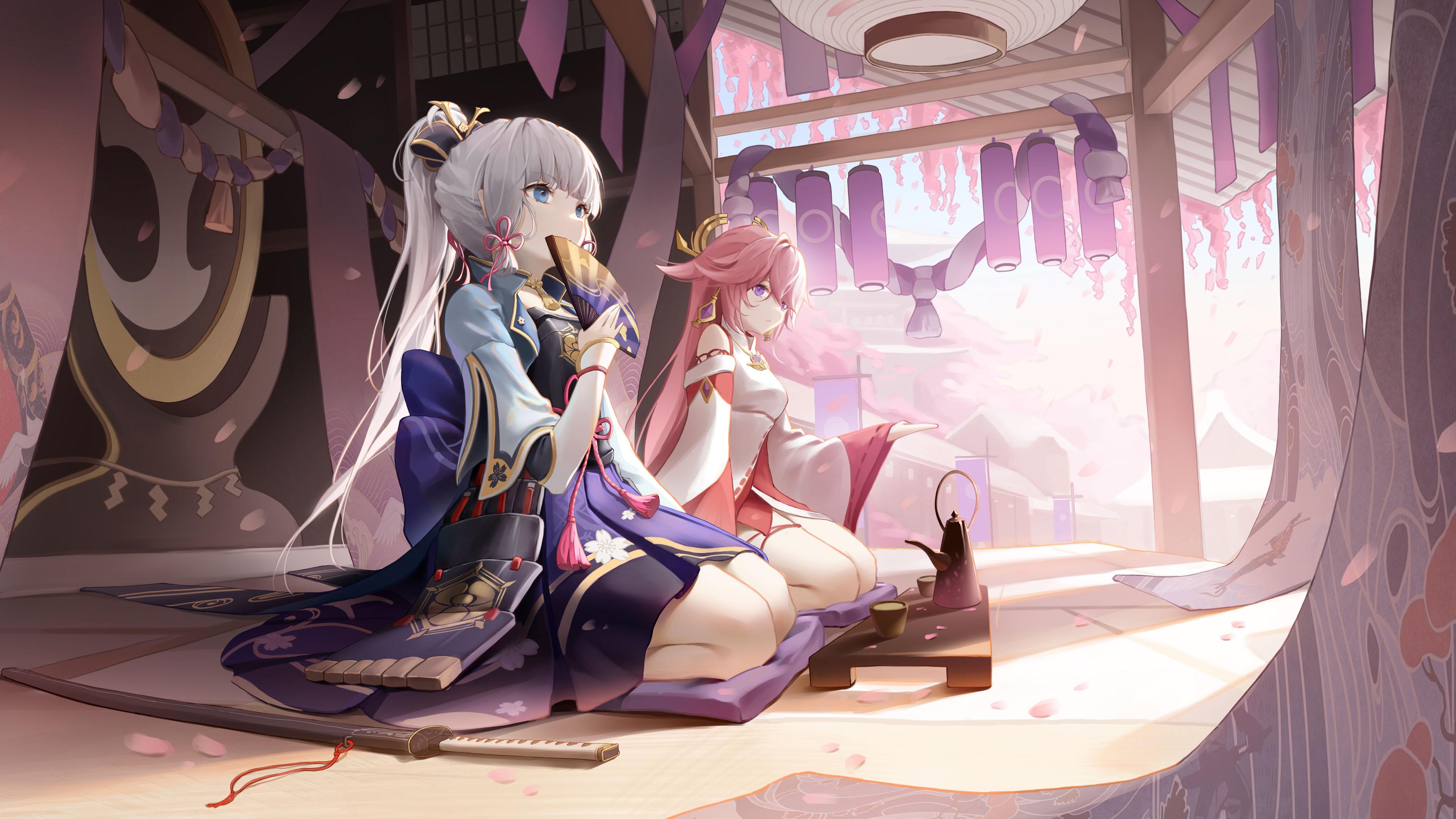 游戏壁纸,手游世界,原神,神里绫华,八重神子