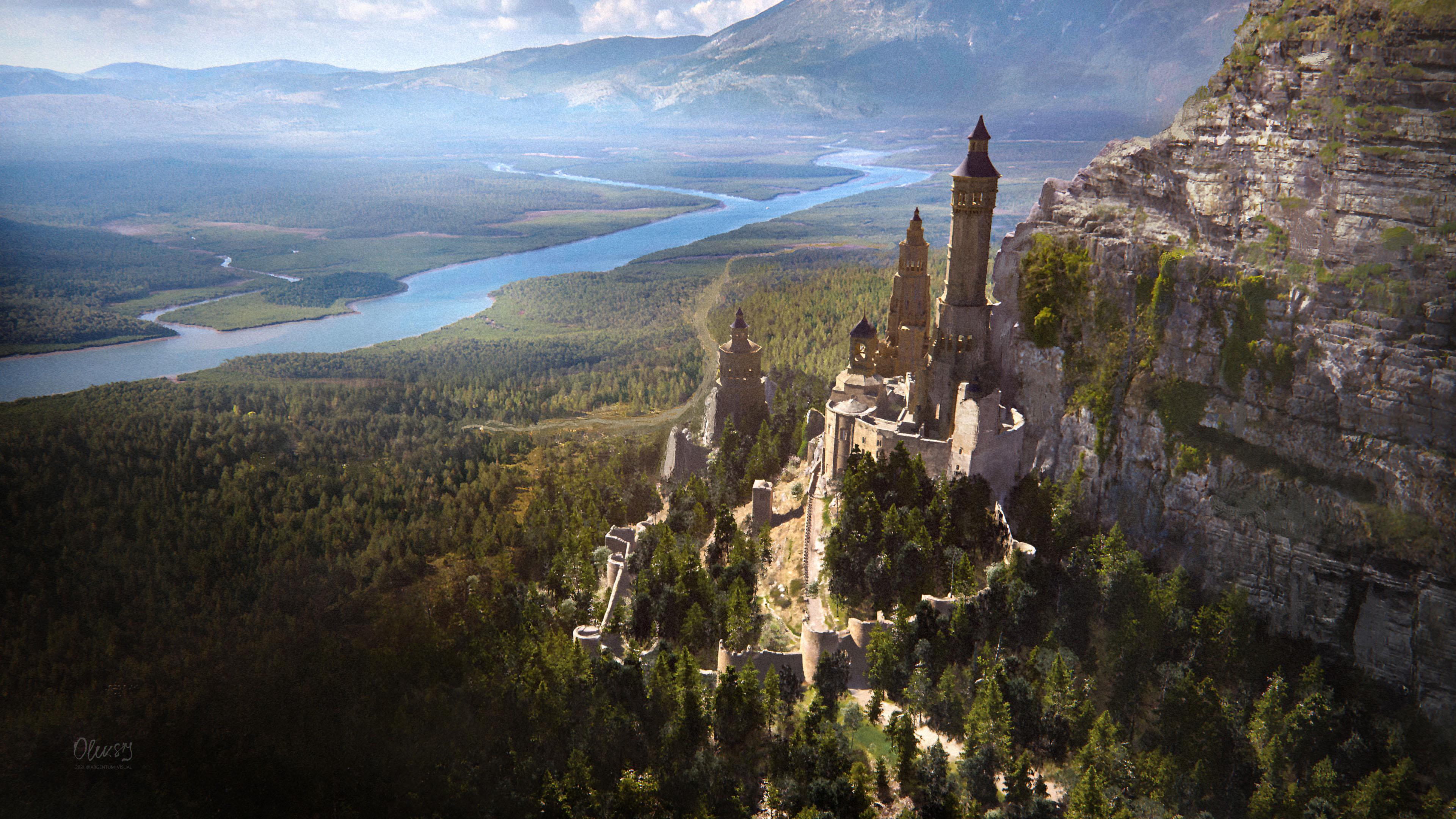 游戏壁纸,靠山的城堡,树林,古堡,一望无际
